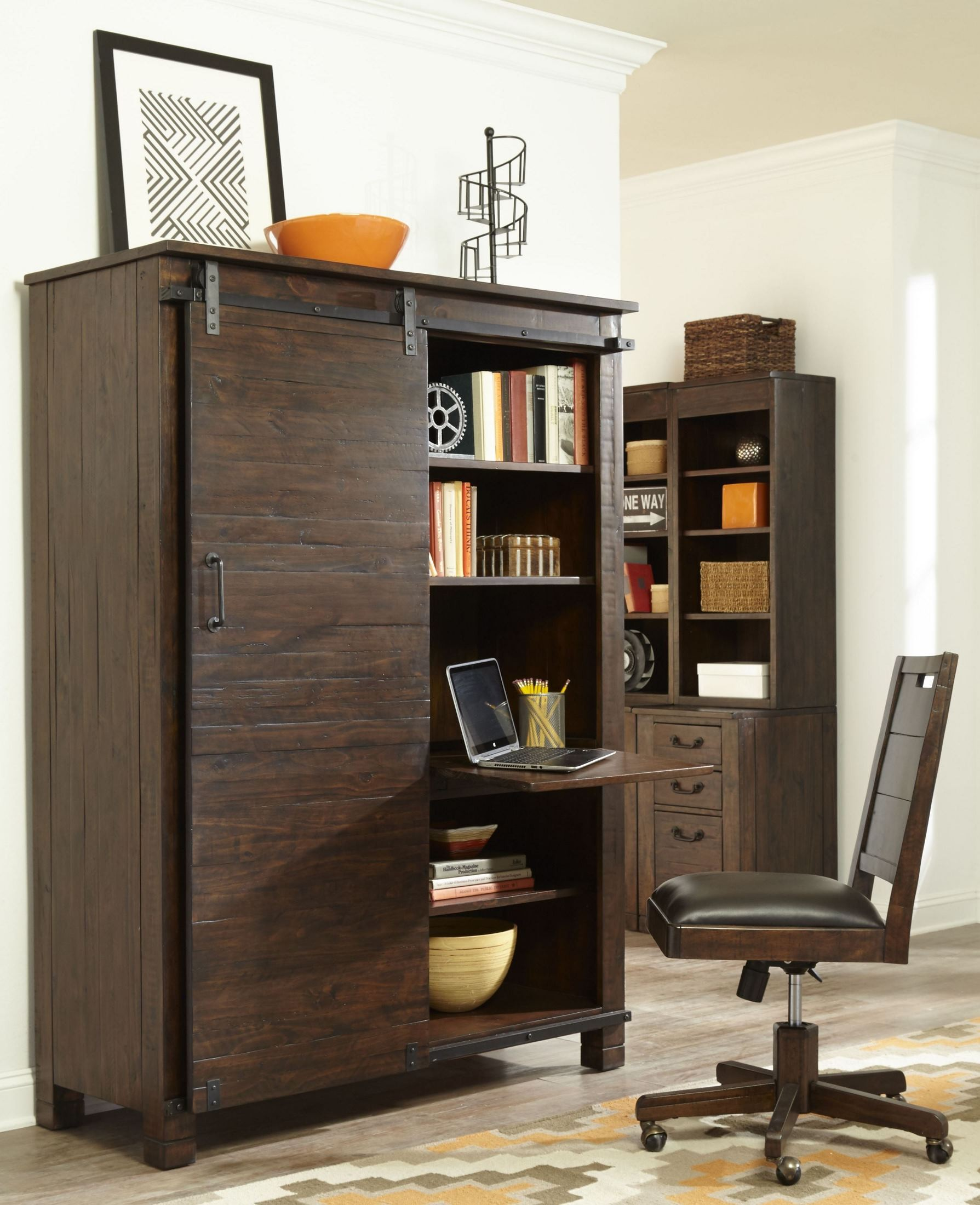 Rustic Home Office Interior Design: Pine Hill Rustic Pine Secretary Home Office Set, H3561-50