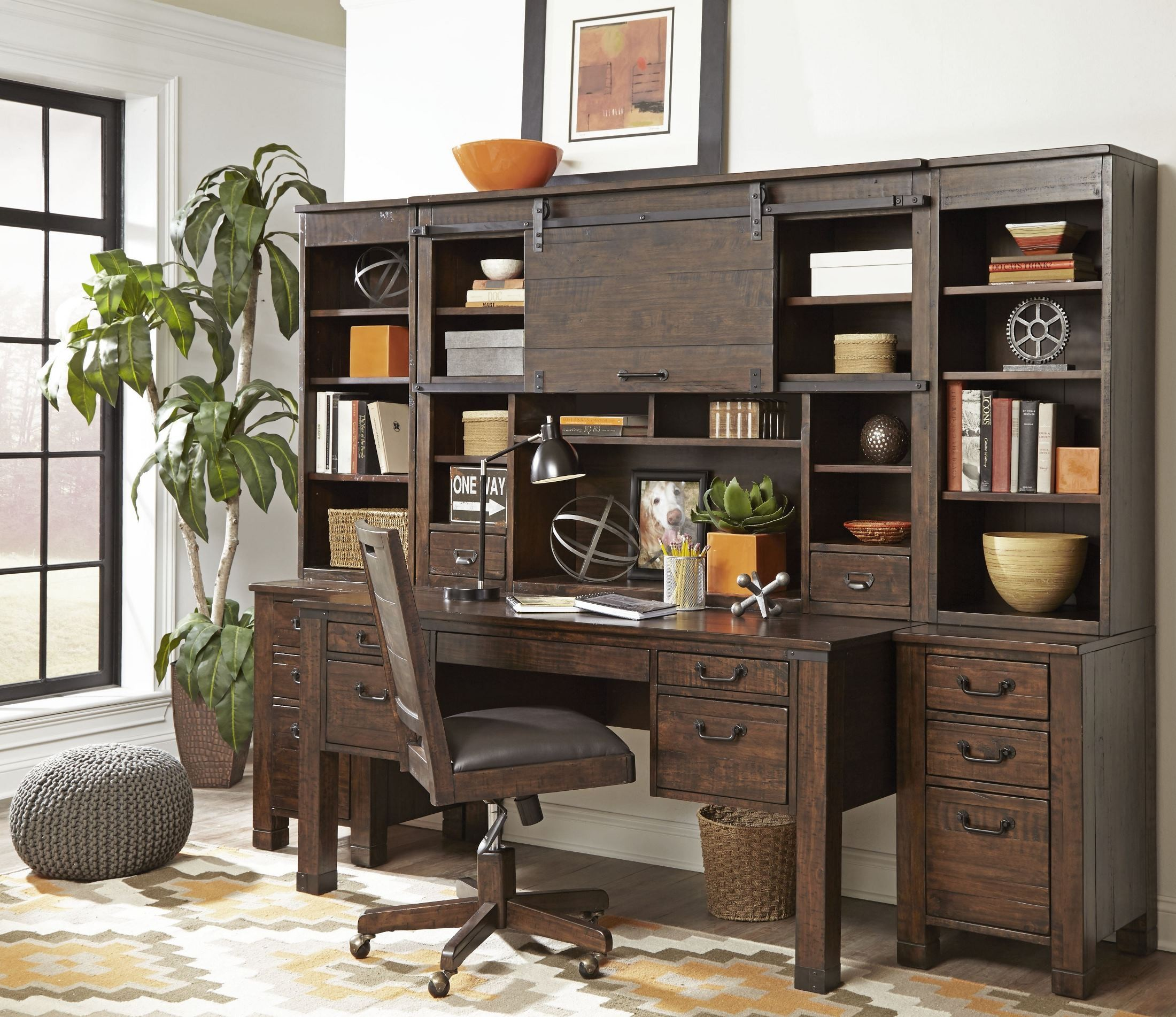 Pine Hill Rustic Pine Secretary Home Office Set From