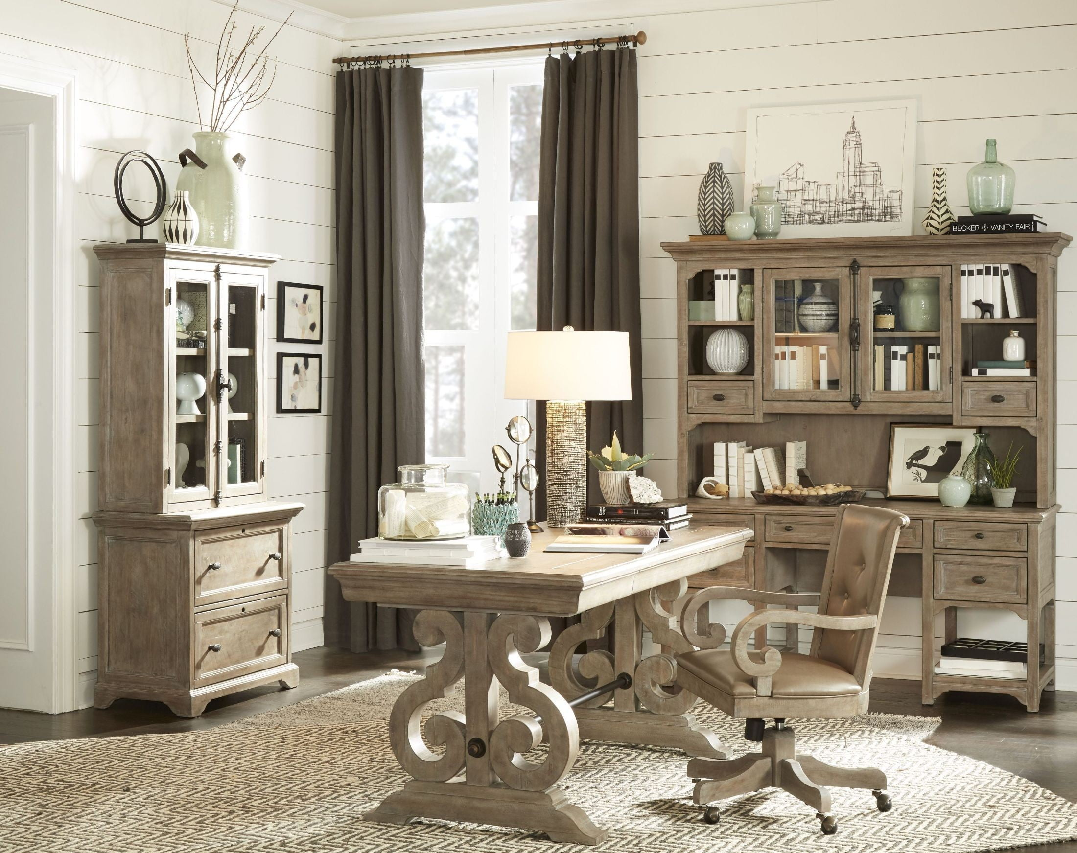 grey home office. Tinley Park Dove Tail Grey Home Office Set O