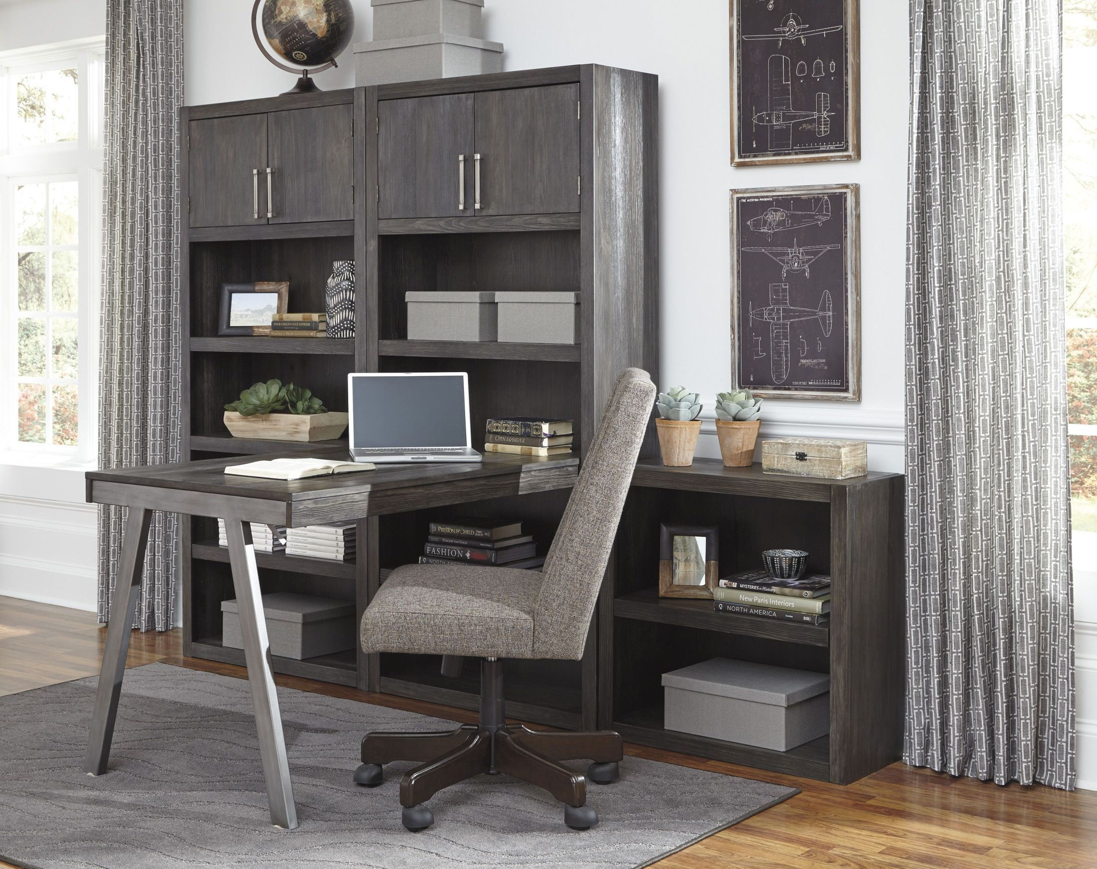 Raventown Grayish Brown Bookcase Home Office Set From