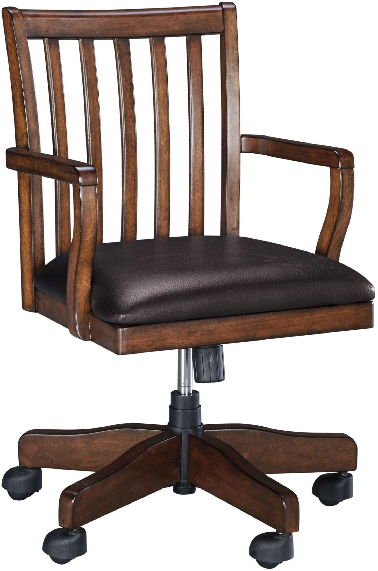 Woodboro brown home office swivel desk chair from ashley for Home office desk with chair