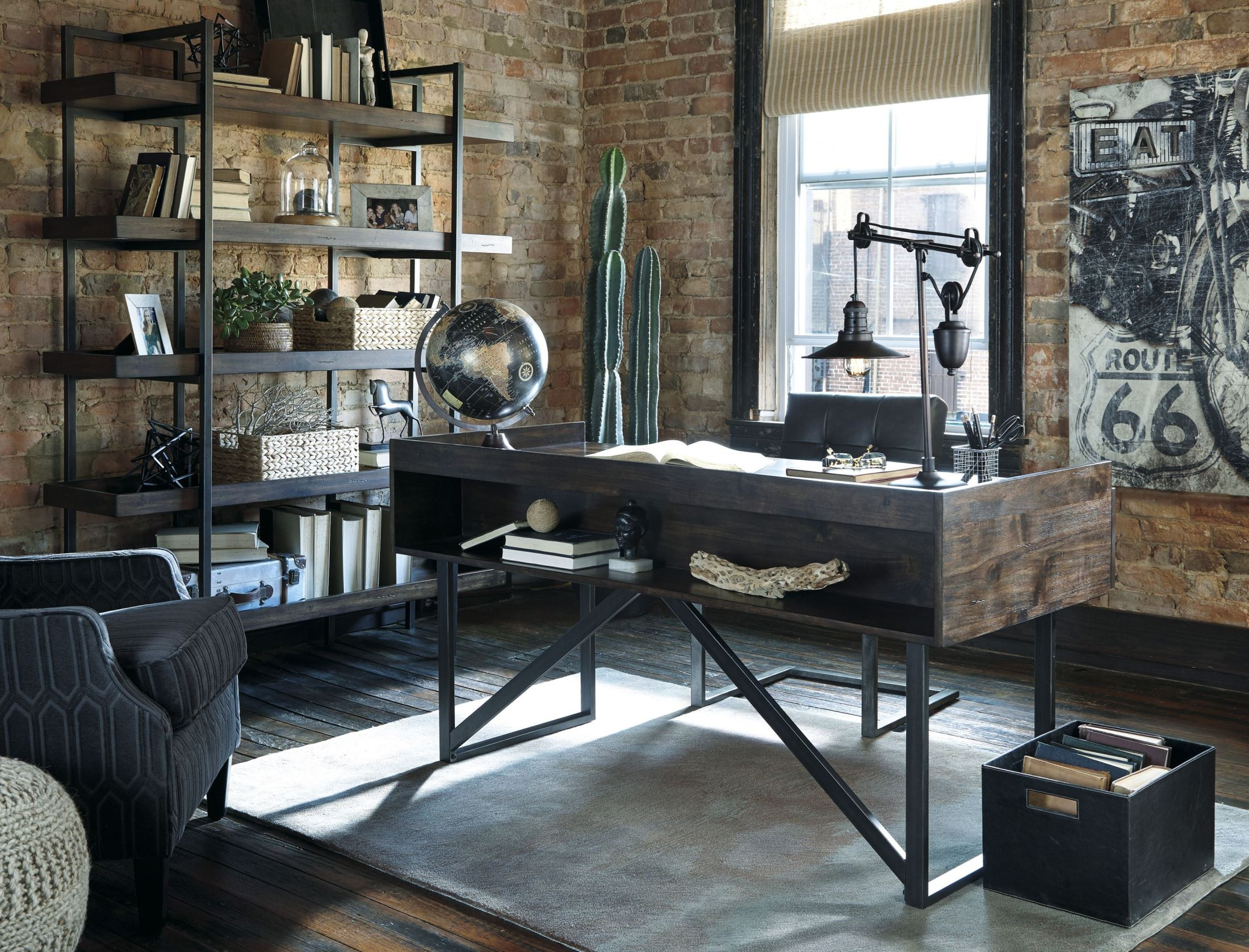 Starmore brown home office set from ashley coleman furniture - Office industrial ...