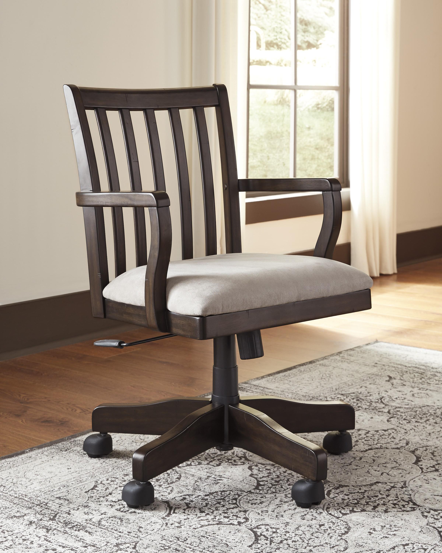 Townser Light Brown Home Office Swivel Desk Chair From