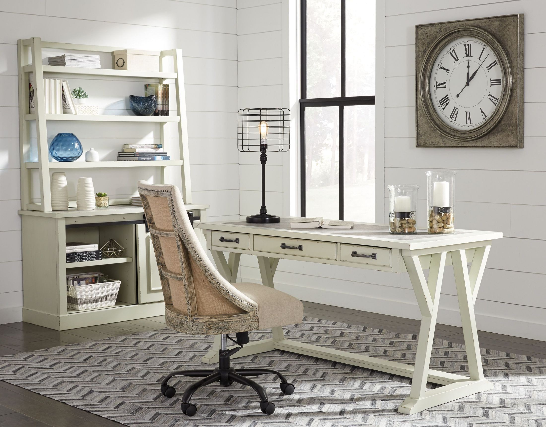 Jonileene White and Gray Home Office Set from Ashley | Coleman Furniture