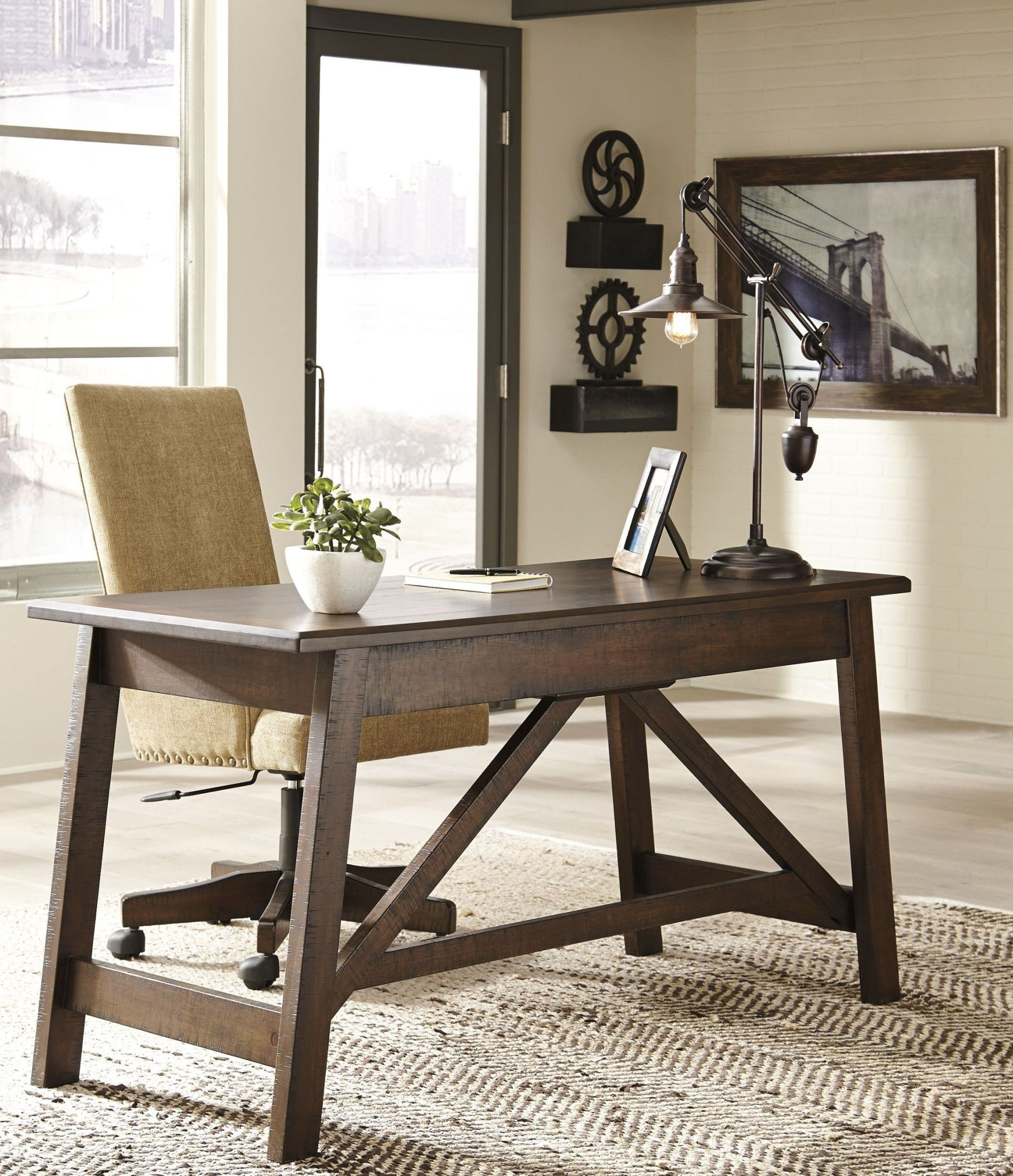 Baldridge rustic brown home office large leg desk from for Large home office