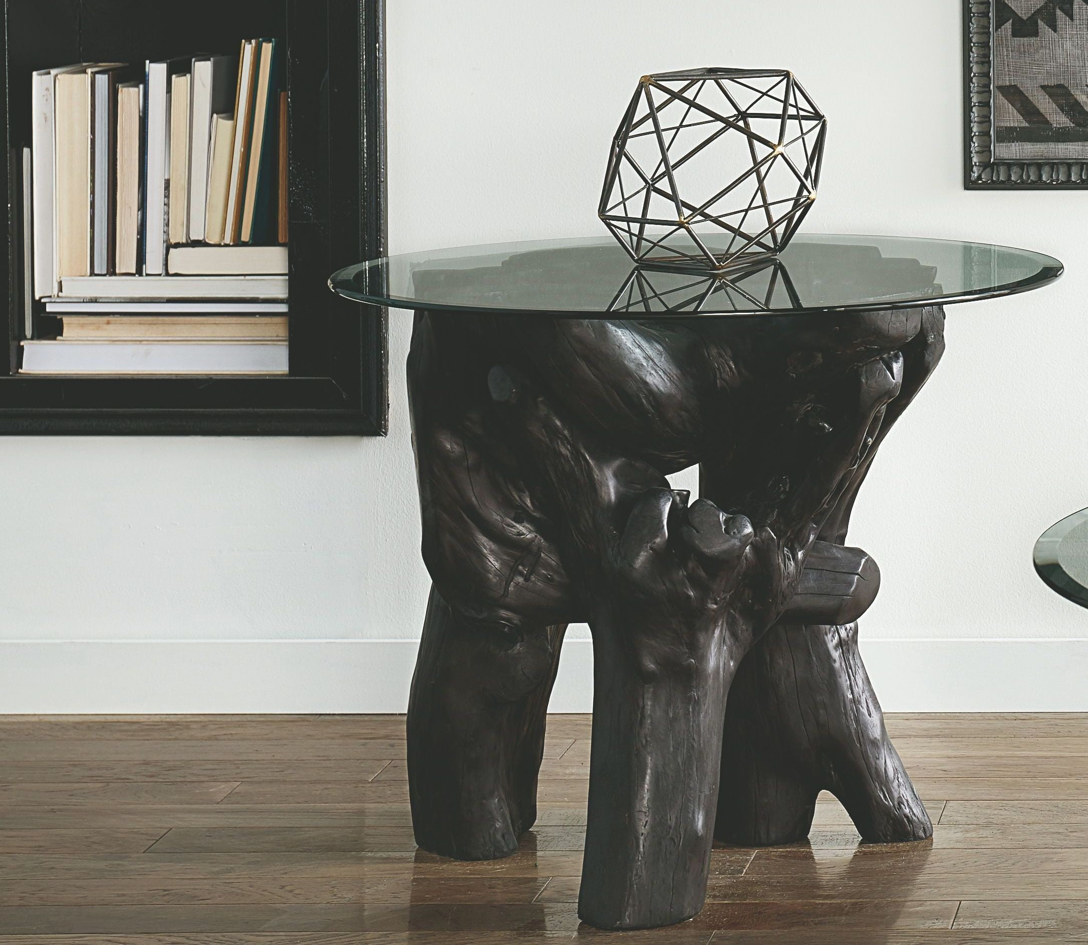 Root End Table: Hidden Treasures Black Root Ball End Table From Hammary