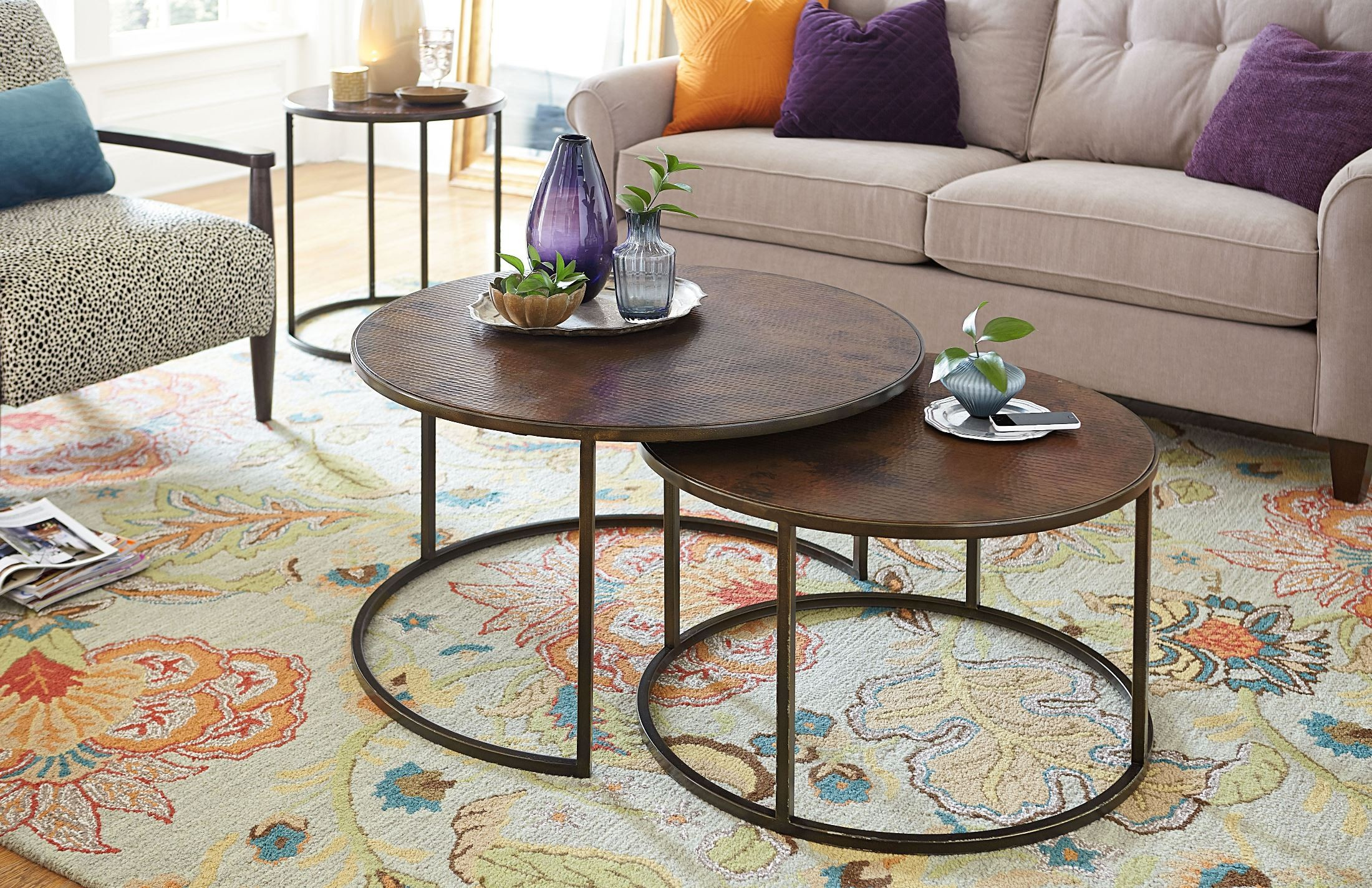 Sanford Acid Washed Copper Top Round Cocktail Table from Hammary