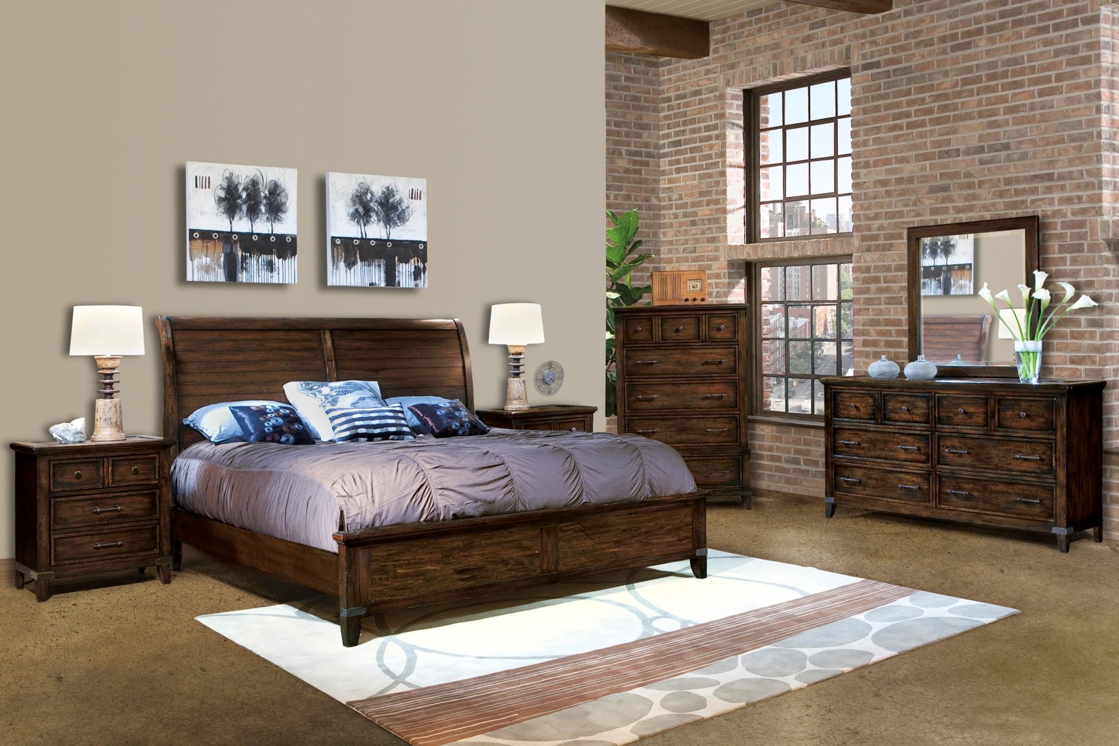 Harbor Springs Rustic Hardwood Sleigh Bedroom Set From