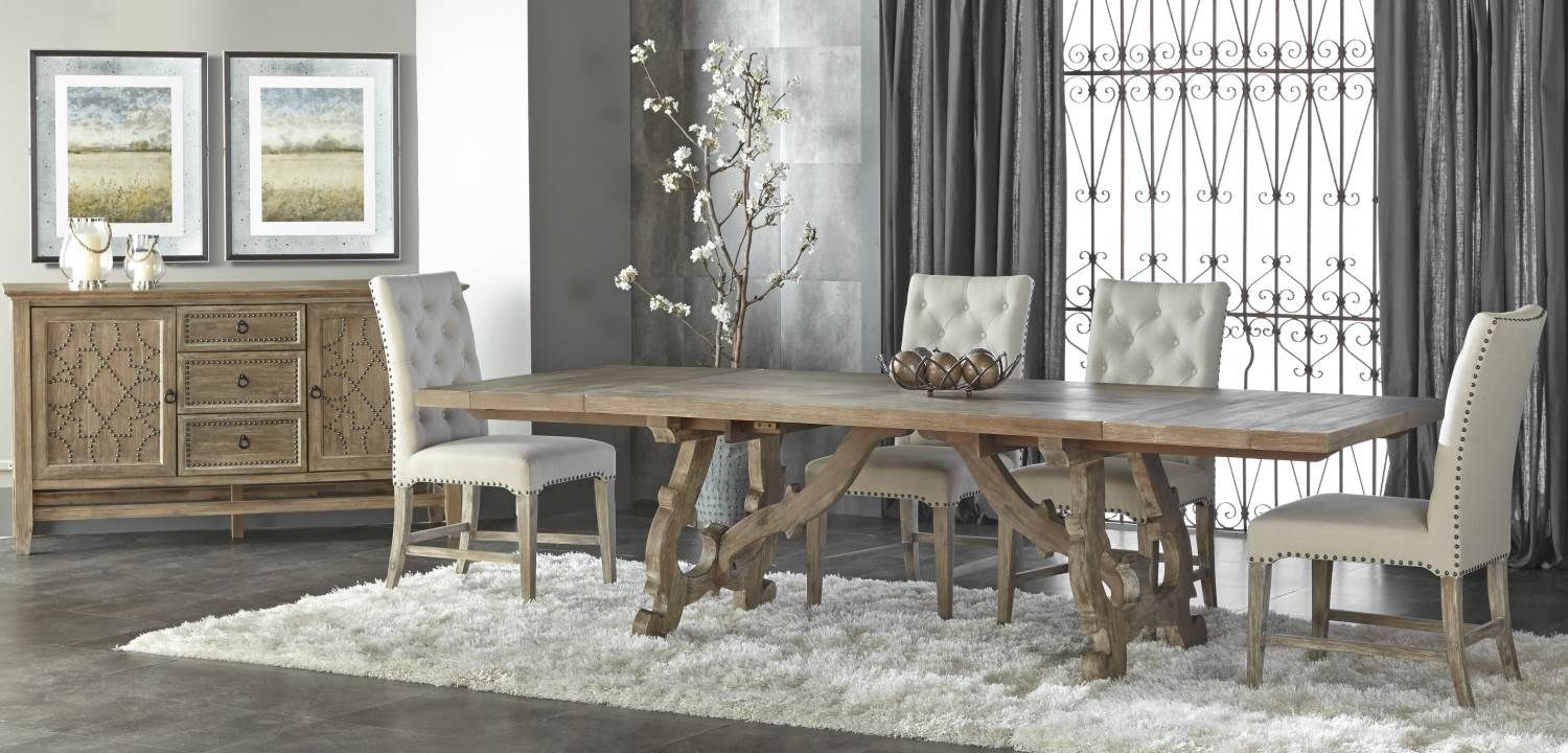 haute gray wash rectangular extendable trestle dining table from orient express 6093 gw. Black Bedroom Furniture Sets. Home Design Ideas