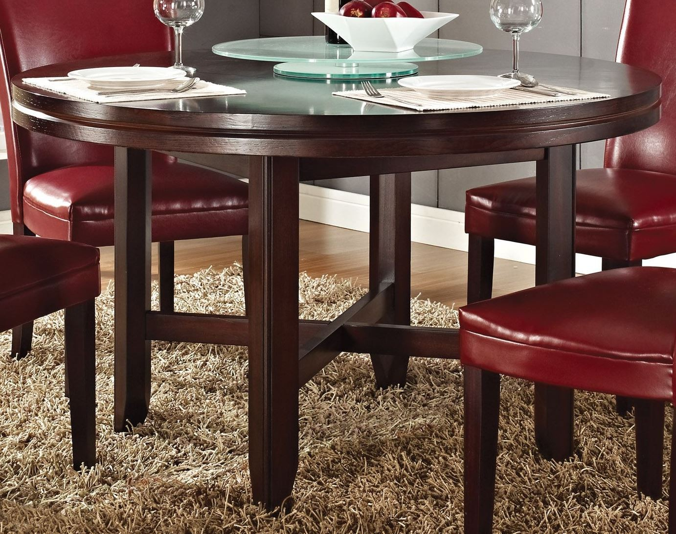 Hartford dark oak 52 round dining table from steve silver for Table 52 private dining