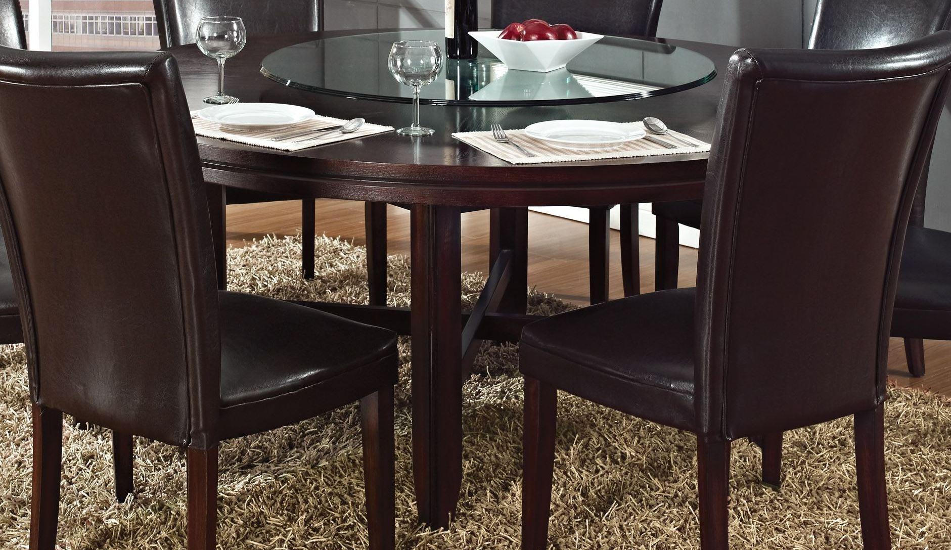 Hartford dark oak 72 round dining table from steve silver for Dark oak dining table
