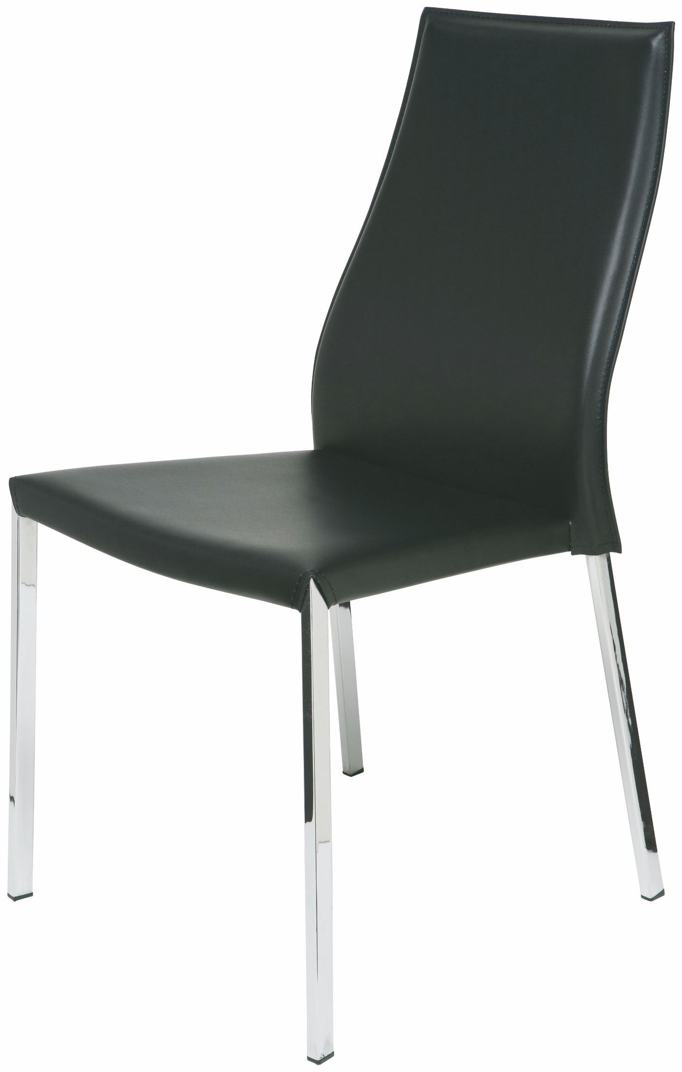 Eric black leather dining chair from nuevo coleman furniture for Black leather dining chairs