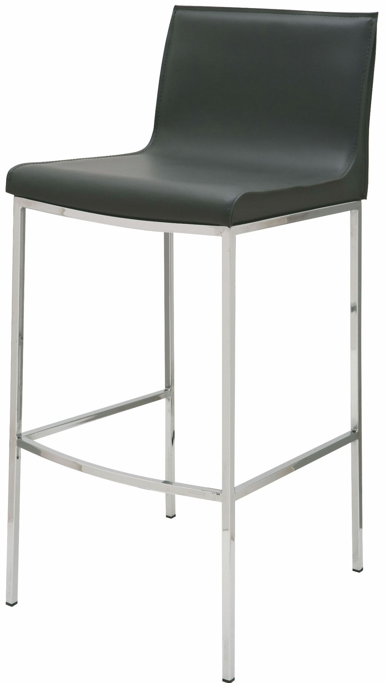Colter Dark Grey Leather Counter Stool From Nuevo