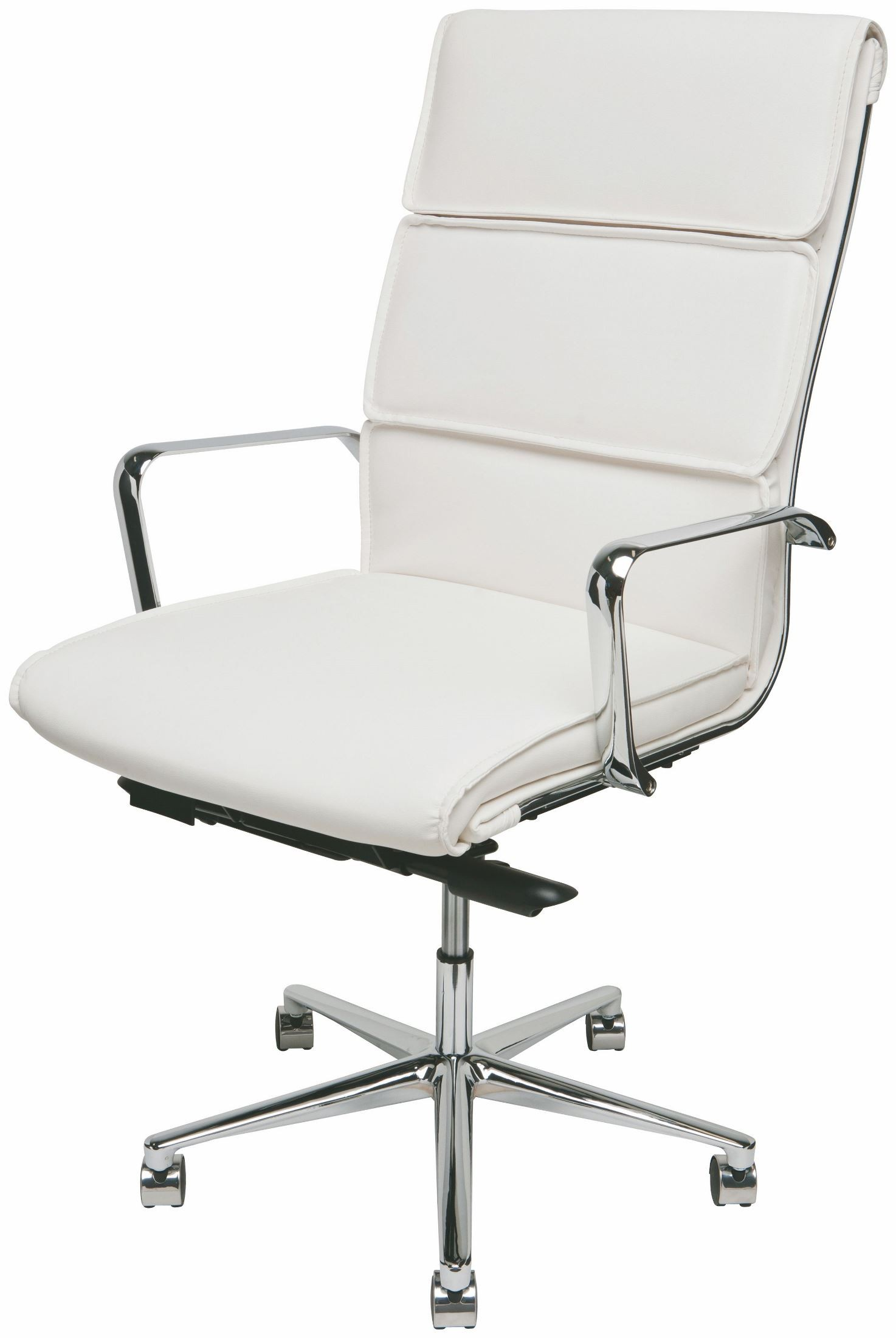 Lucia White and Silver Metal High Back fice Chair from