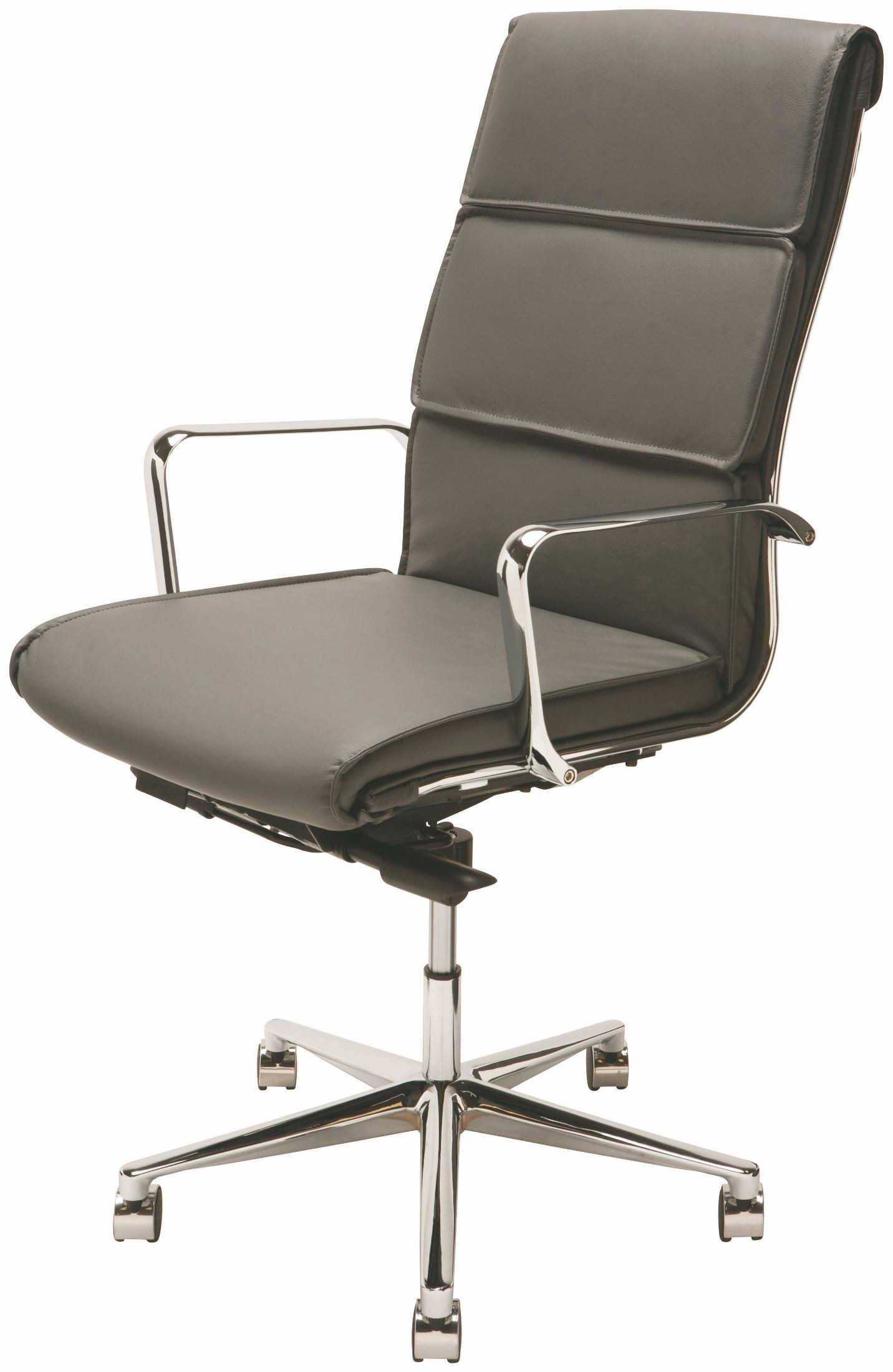 Lucia Dark Grey and Silver Metal High Back fice Chair