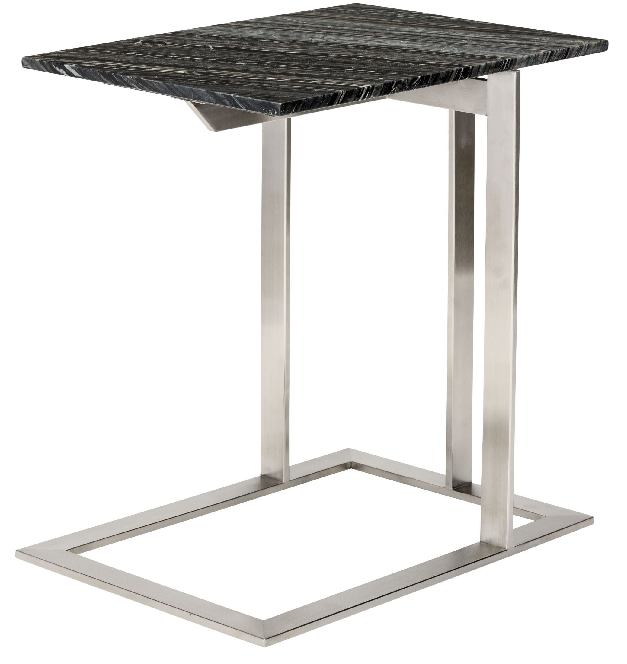 Dell black wood vein marble side table from nuevo for Black wood side table