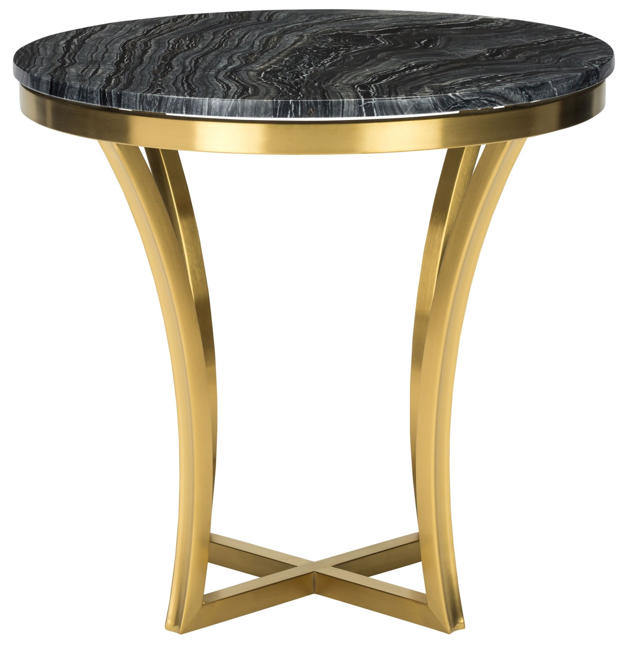 aurora gold black stone side table