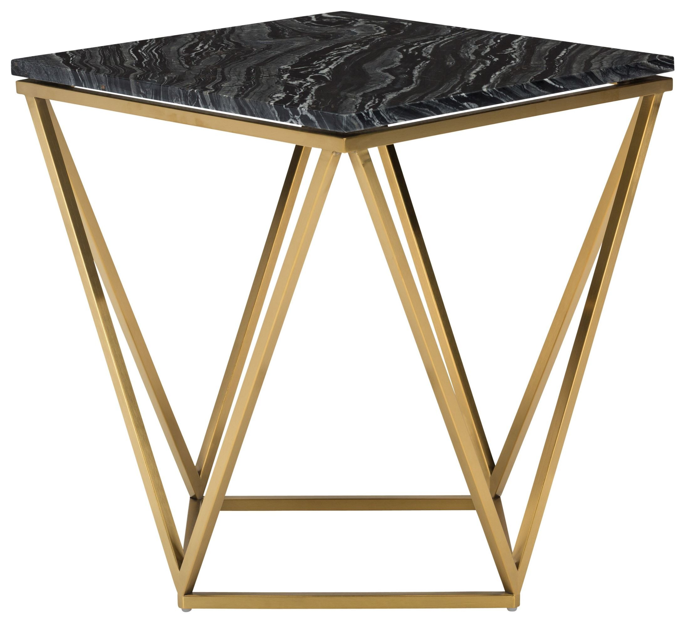 Nuevo Aurora Gold Coffee Table: Jasmine Black Stone And Gold Metal Side Table From Nuevo