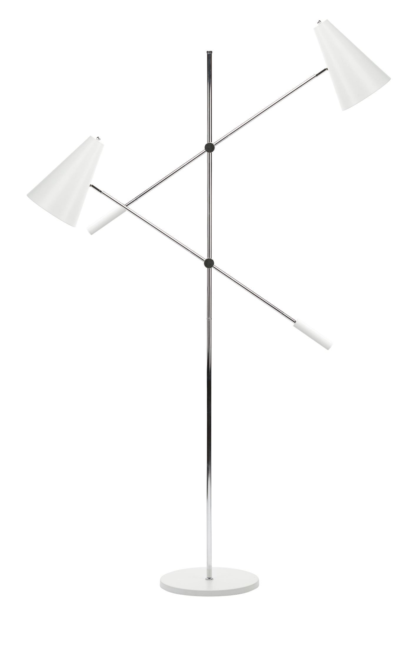 Tivat white metal 2 shade floor lamp from nuevo coleman for Floor lamp with wire shade
