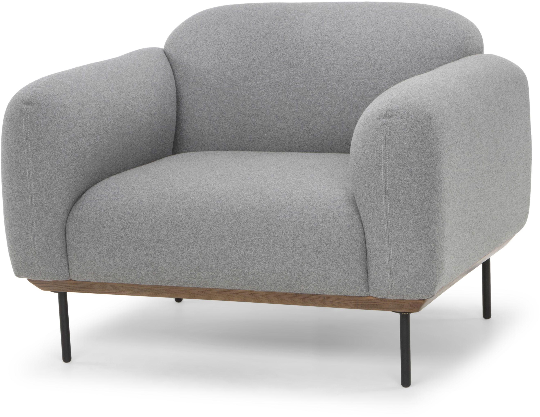 Benson light grey single seat sofa from nuevo coleman for Grey single chair