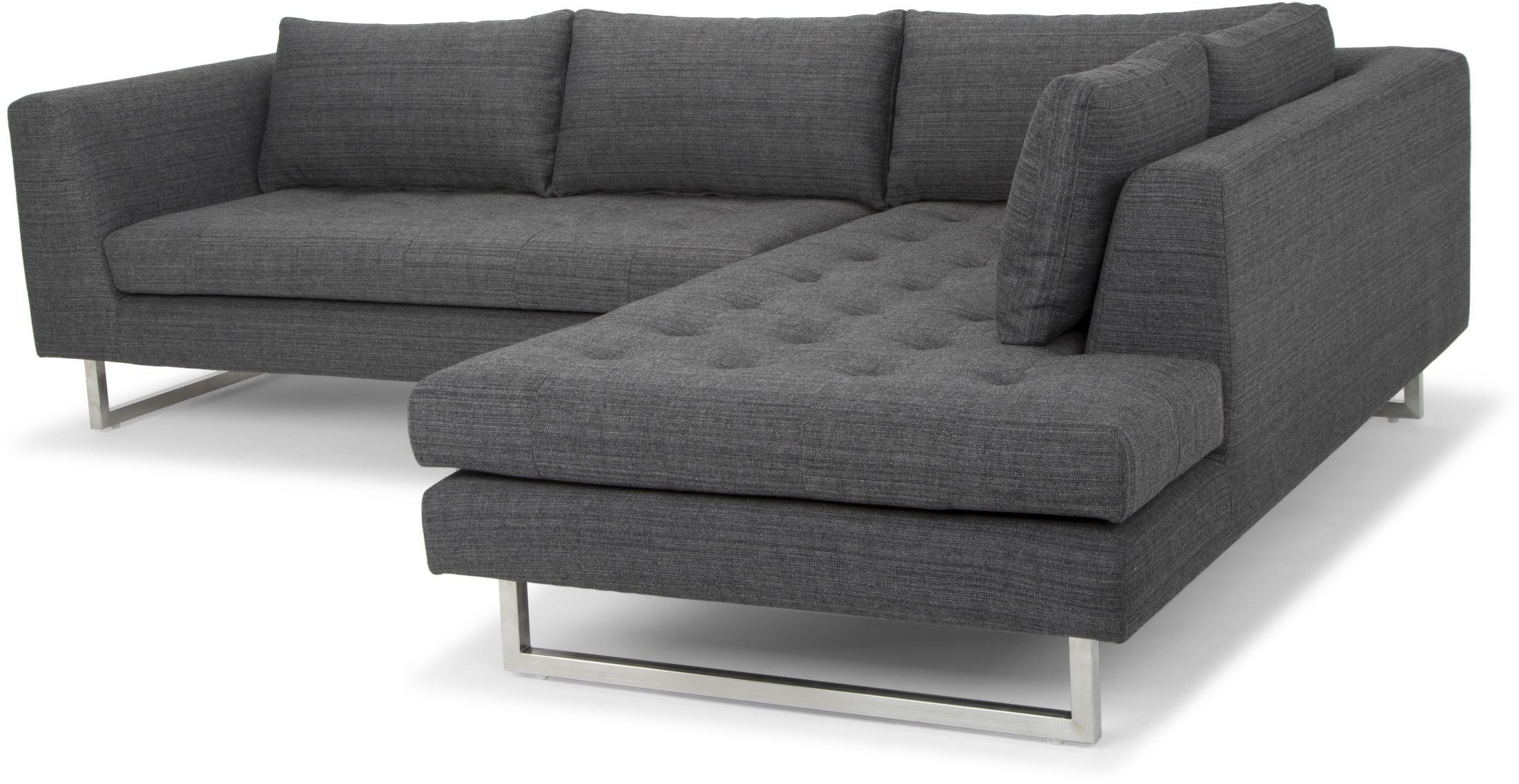 Janis dark grey tweed raf sectional sofa from nuevo for Grey tweed couch