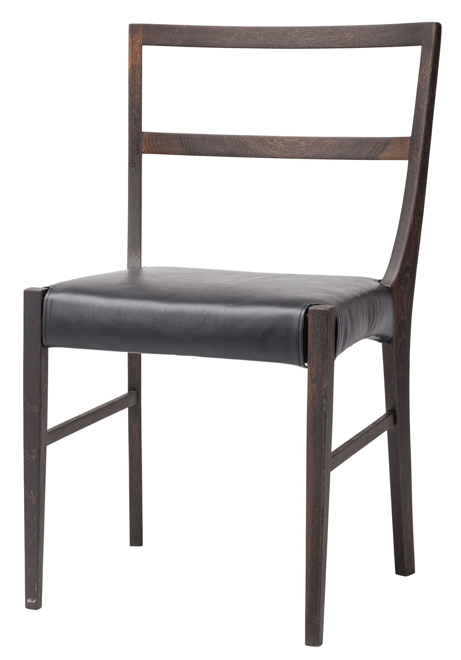Hanna black leather dining chair from nuevo coleman for Black leather dining chairs