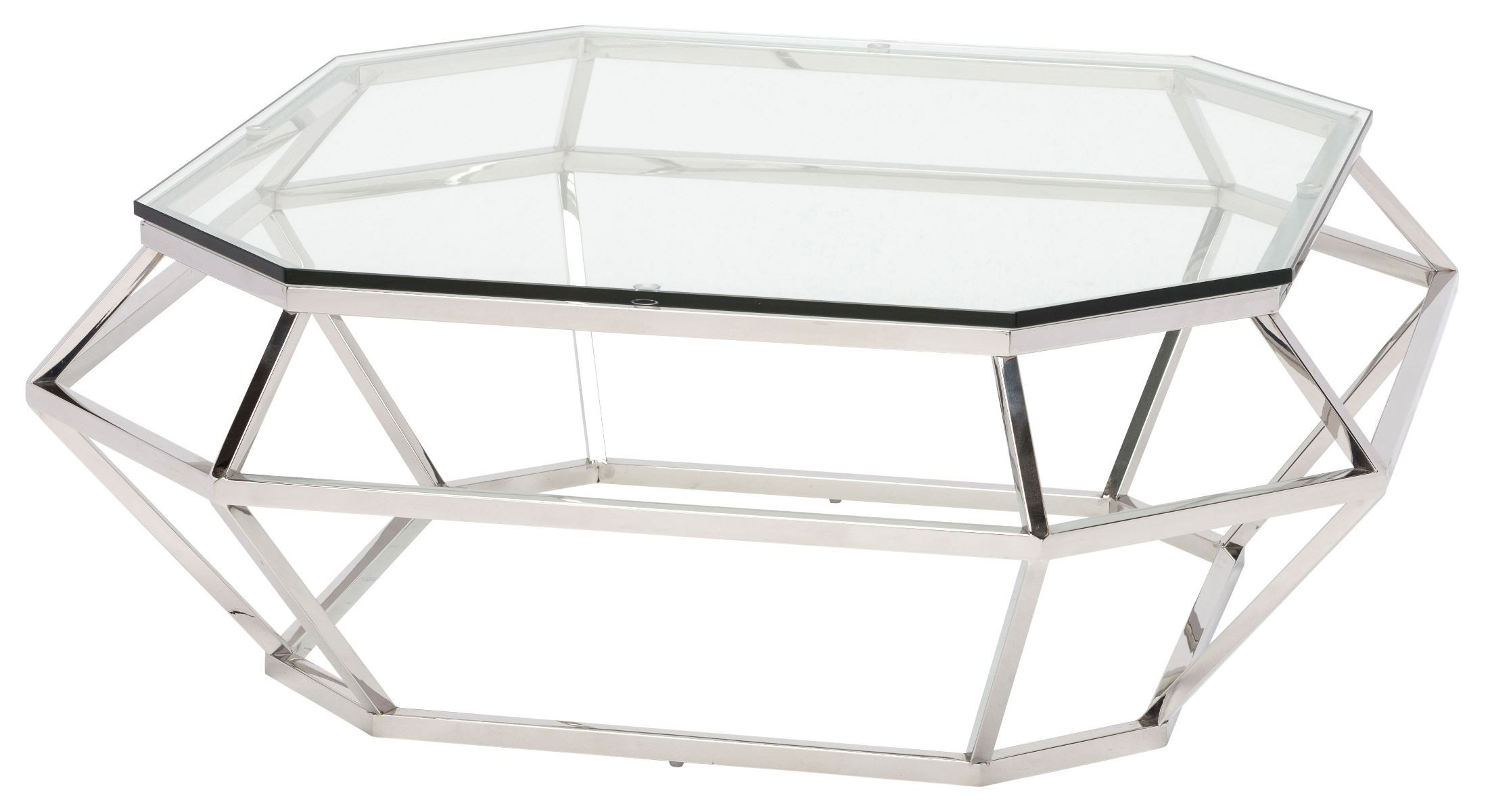 Diamond clear glass and silver metal square coffee table from nuevo coleman furniture Metal square coffee table