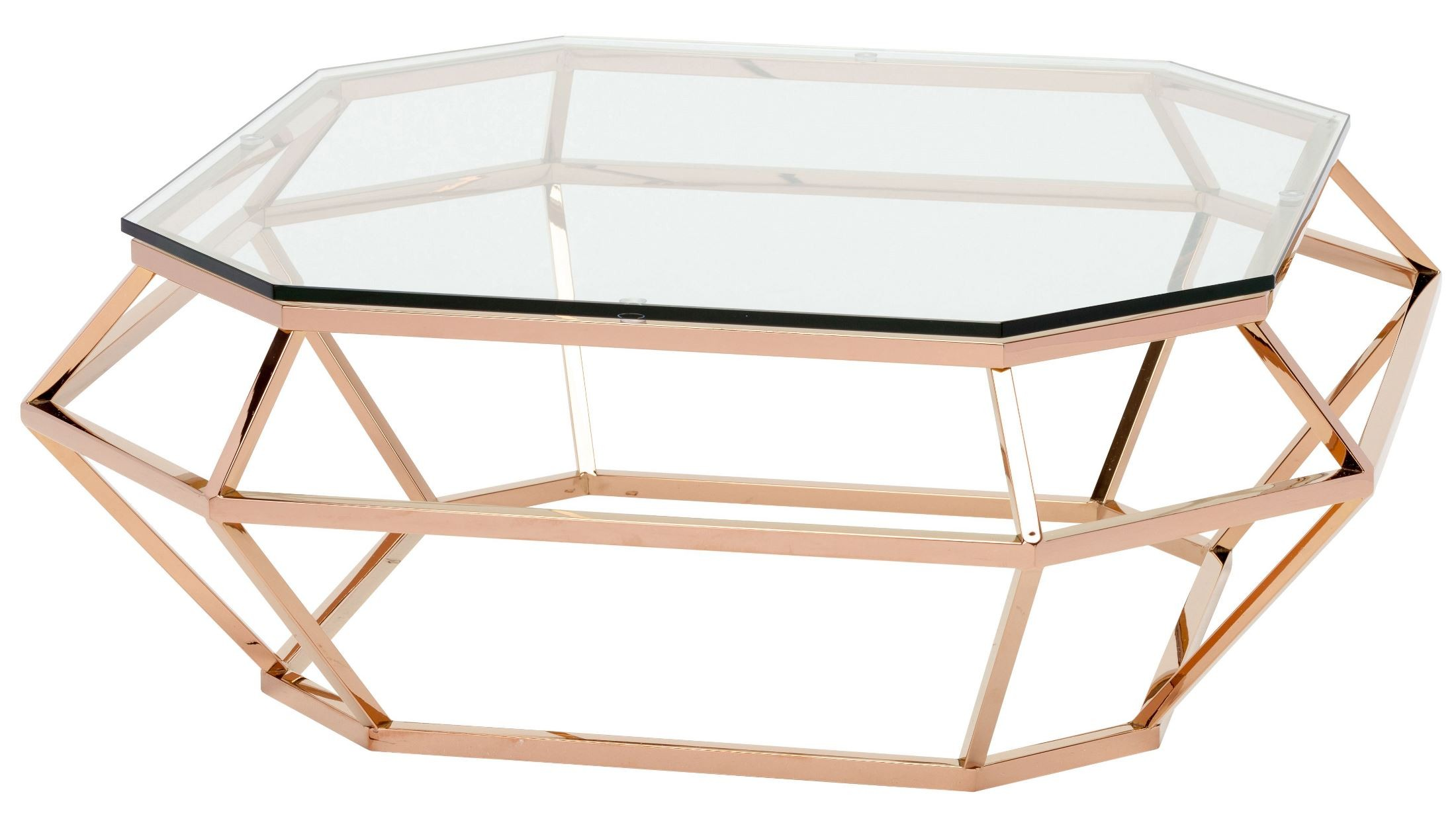 Diamond clear glass and rose gold metal square coffee table from nuevo coleman furniture Gold metal coffee table