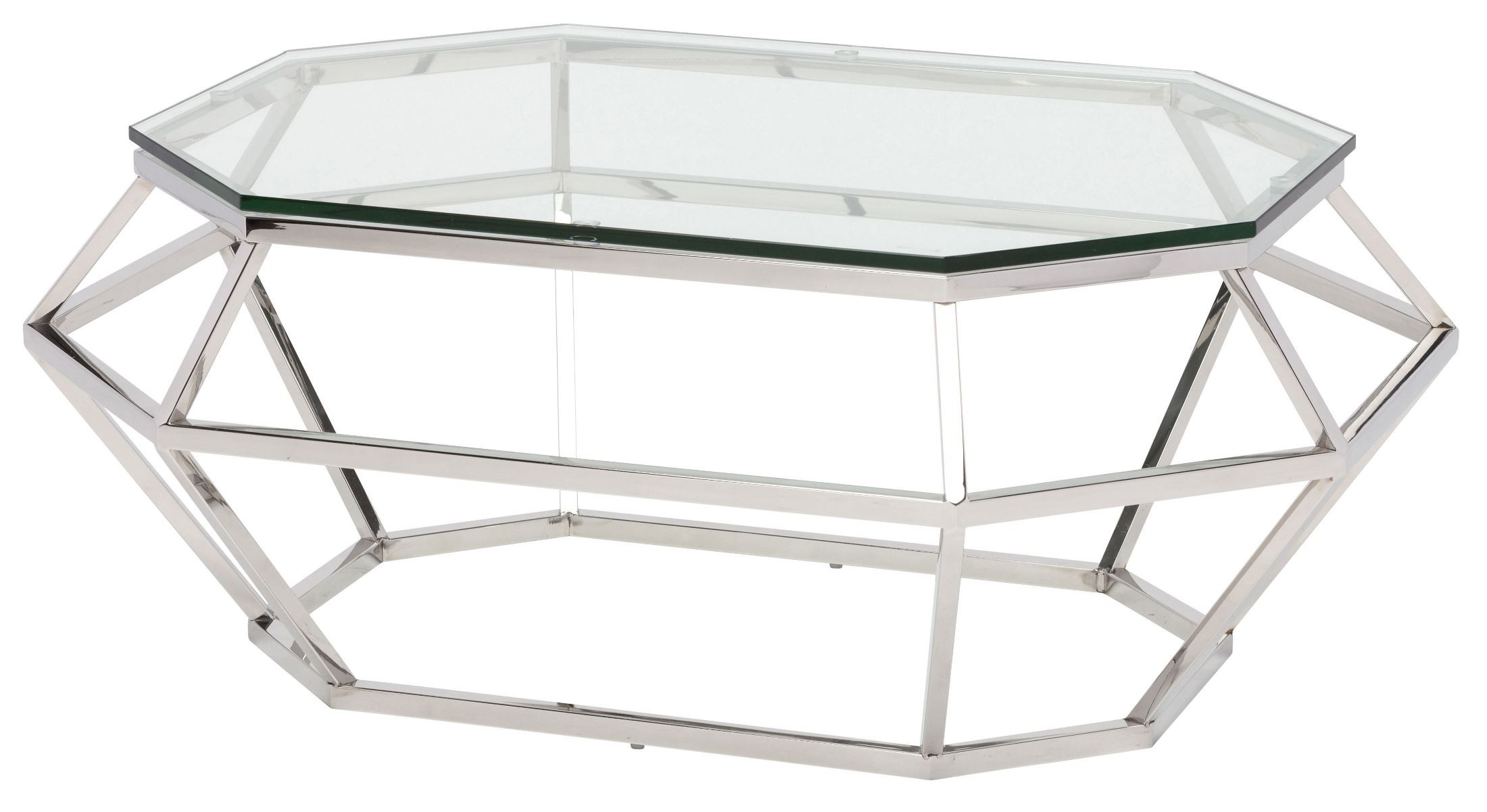 clear coffee table clear glass and silver metal rectangular coffee 28926