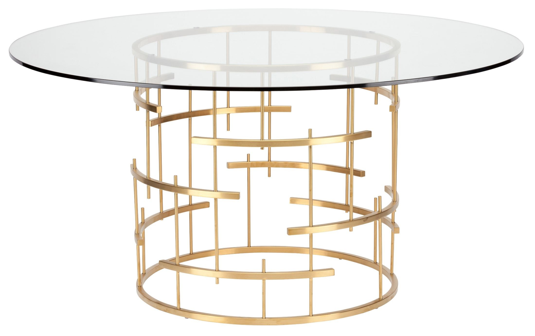 round 59 tiffany clear glass and gold metal dining table from nuevo coleman furniture. Black Bedroom Furniture Sets. Home Design Ideas