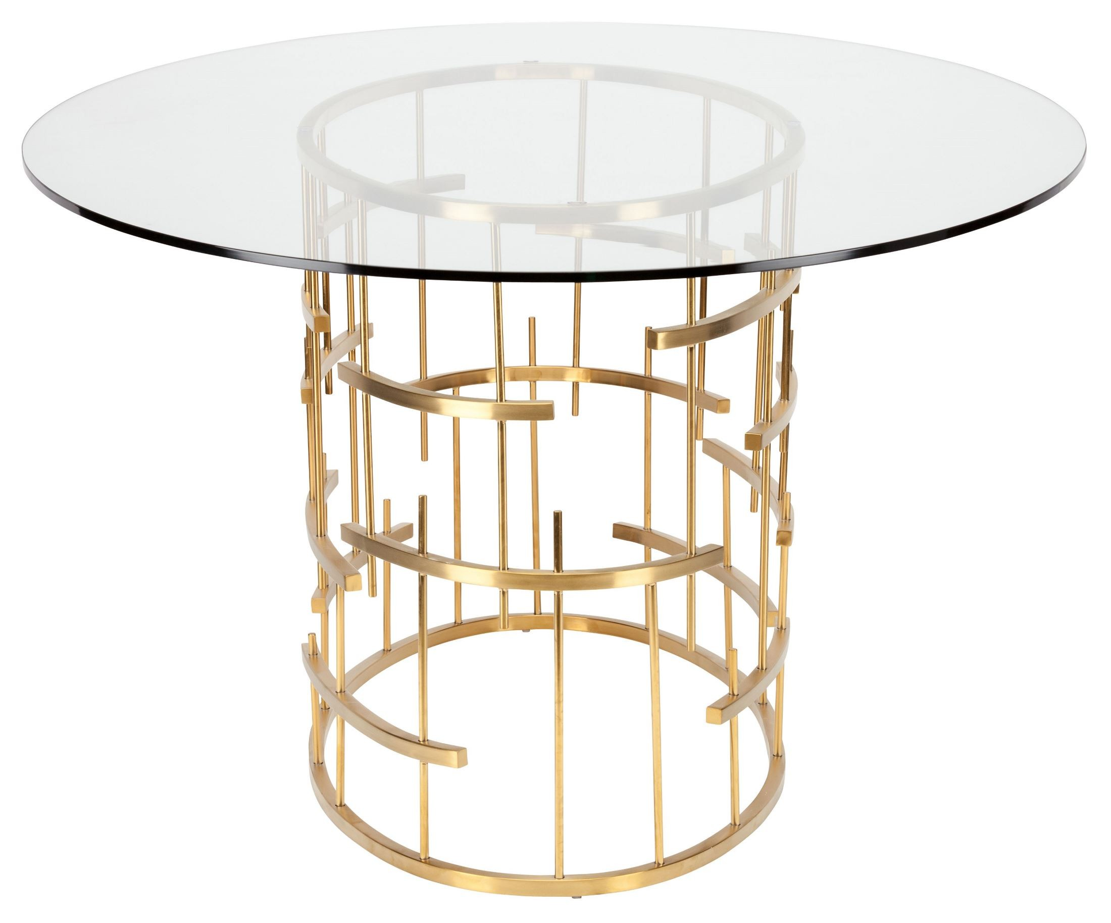 Oval tiffany clear glass and gold metal dining table from for Oval glass dining table