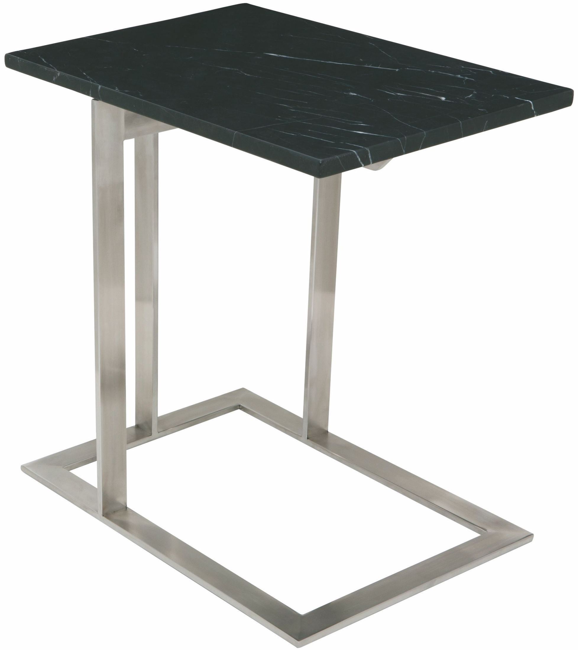 dell black stone and silver metal side table