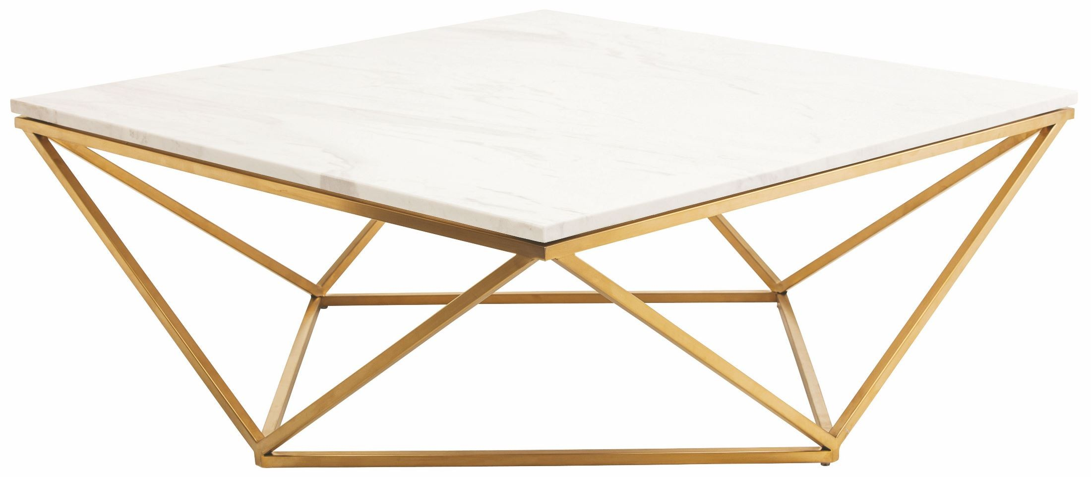 Jasmine White Stone and Gold Metal Coffee Table from Nuevo