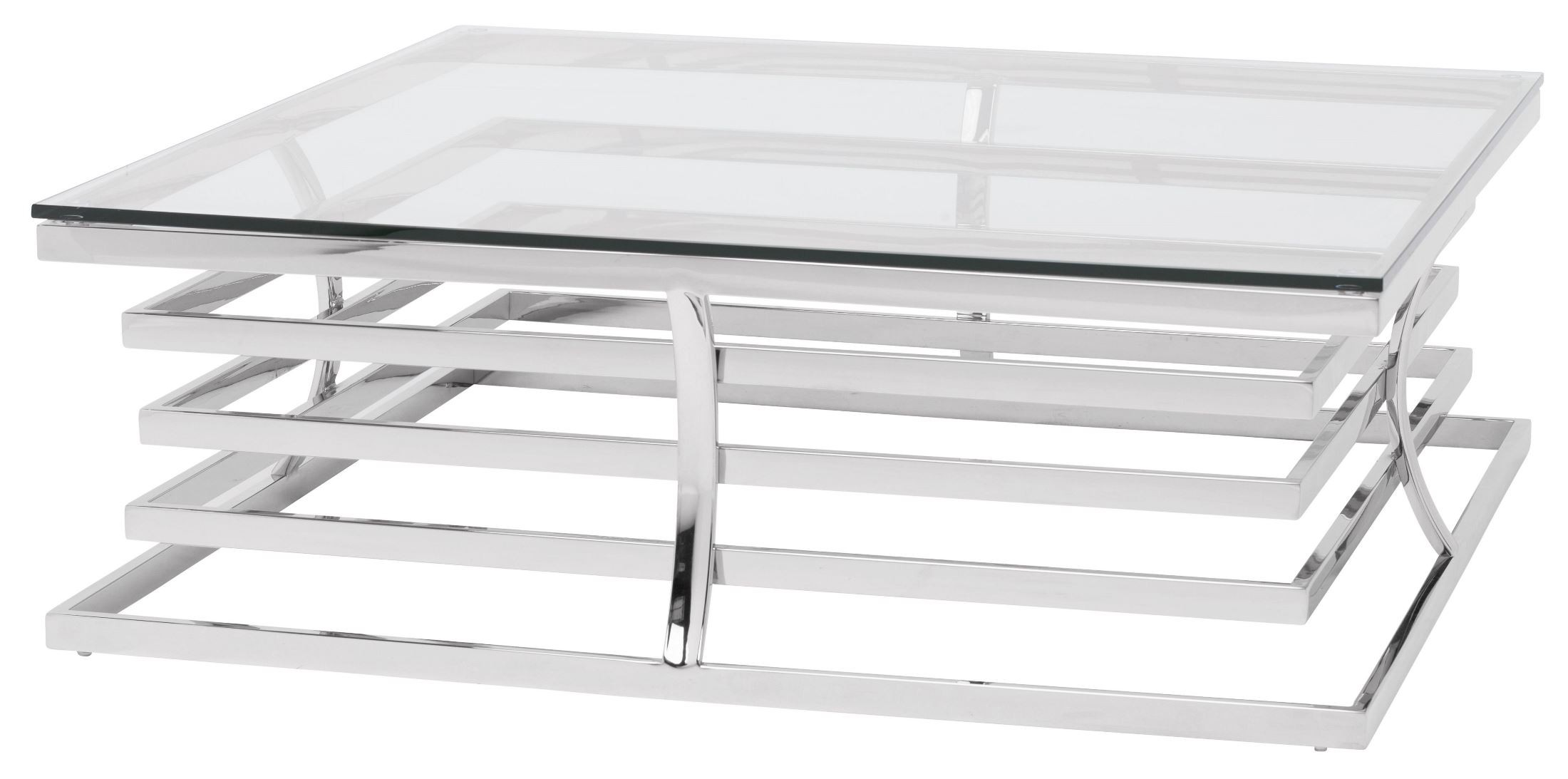 Qubix Clear Glass And Silver Metal Coffee Table From Nuevo Coleman Furniture