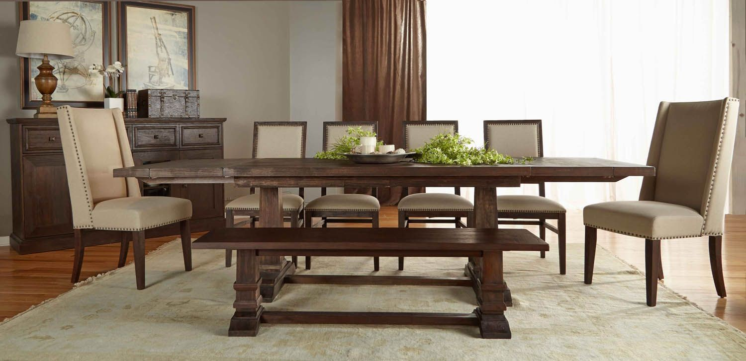 Hudson Rustic Java Rectangular Extendable Trestle Dining