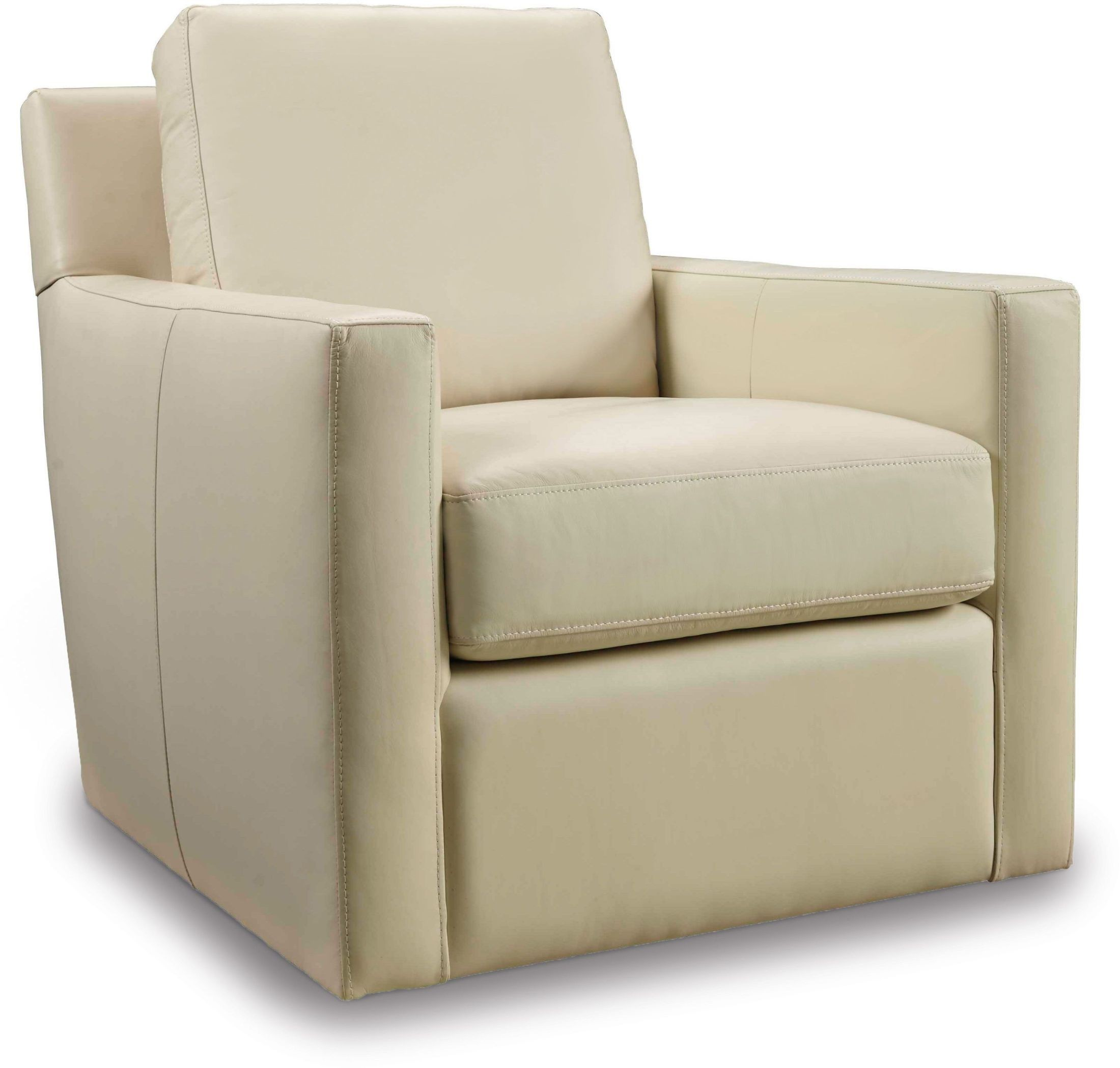 Jada beige leather swivel club chair from hooker coleman for Swivel club chair leather
