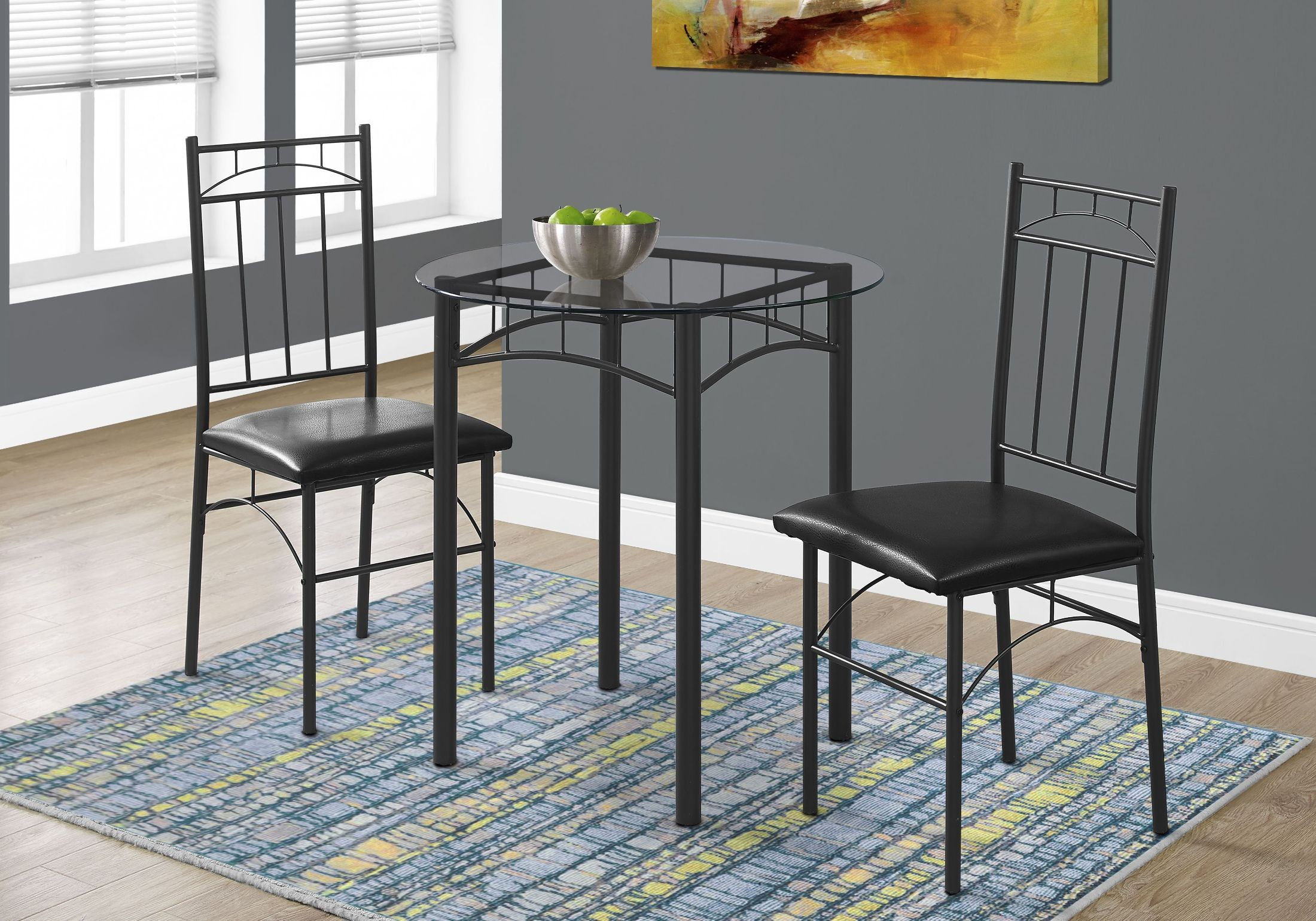 metal dining room sets | Black Metal and Glass 3 Piece Dining Room Set, 1000, Monarch