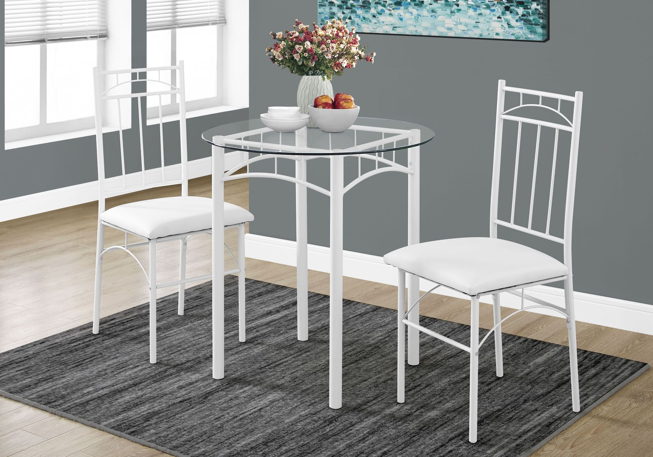 metal dining room sets | White Metal 3 Piece Dining Room Set, 1001, Monarch