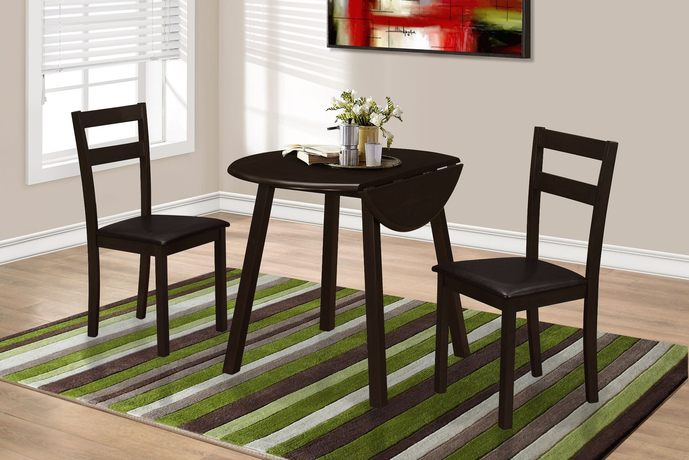 36 cappuccino 3 piece drop leaf dining room set from for 3 piece dining room