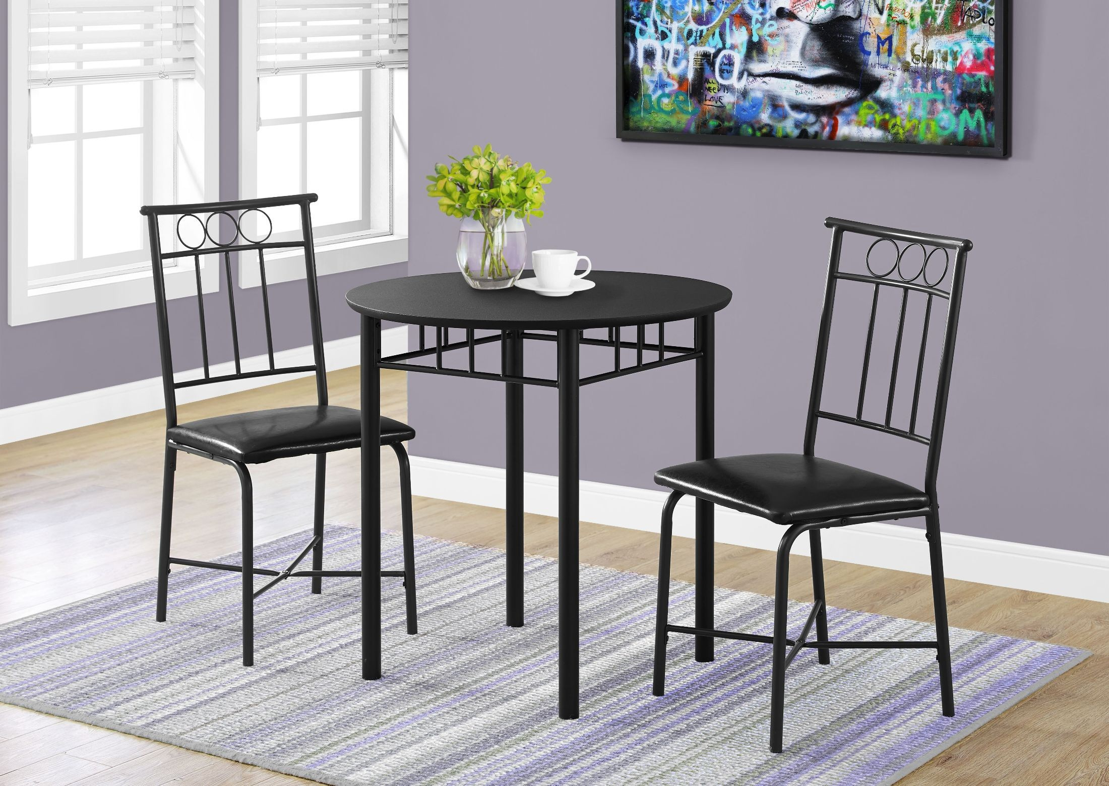 metal dining room sets | Black Metal 3 Piece Dining Room Set, 1013, Monarch