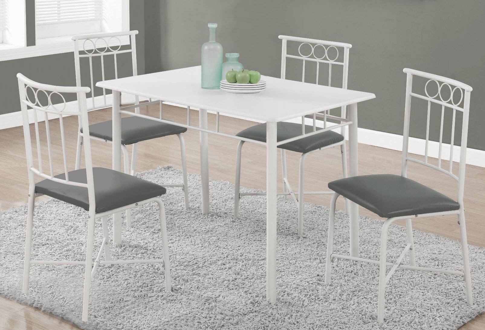 metal dining room sets | 1019 White Metal 5 Piece Dining Room Set, 1019, Monarch