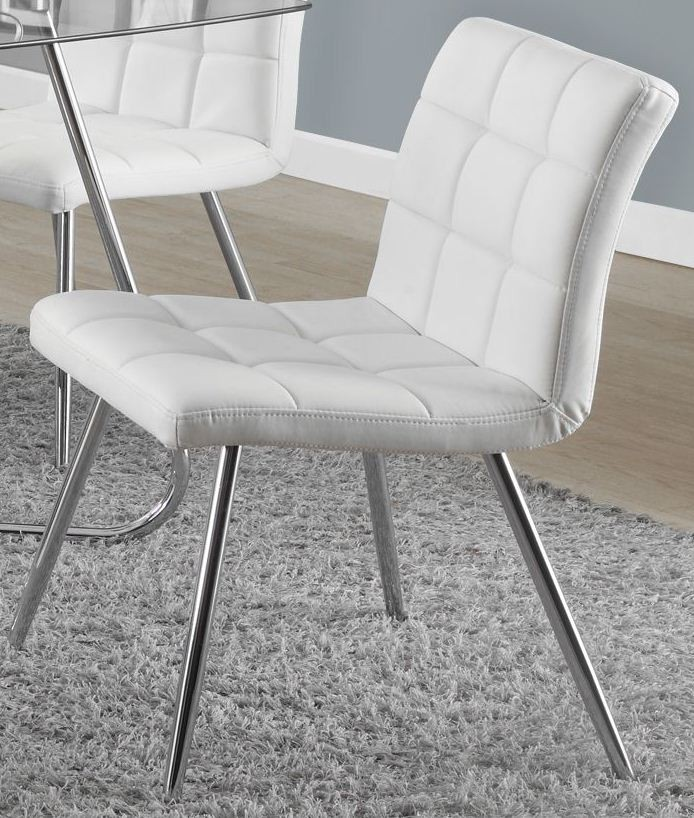 White chrome metal 32 dining chair set of 2 from monarch for White chrome dining chairs