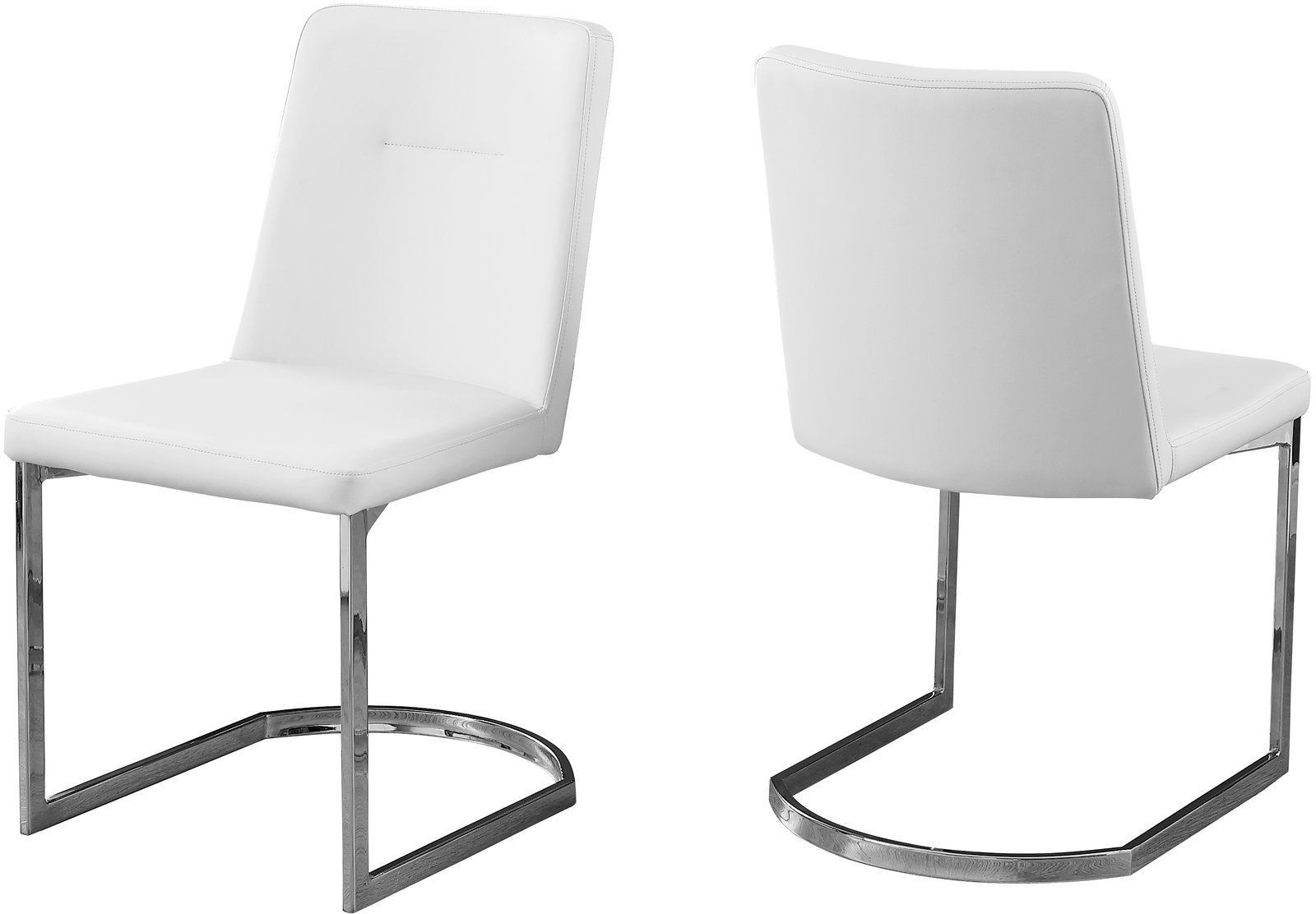 White and chrome 34 h dining chair set of 2 from monarch for White chrome dining chairs
