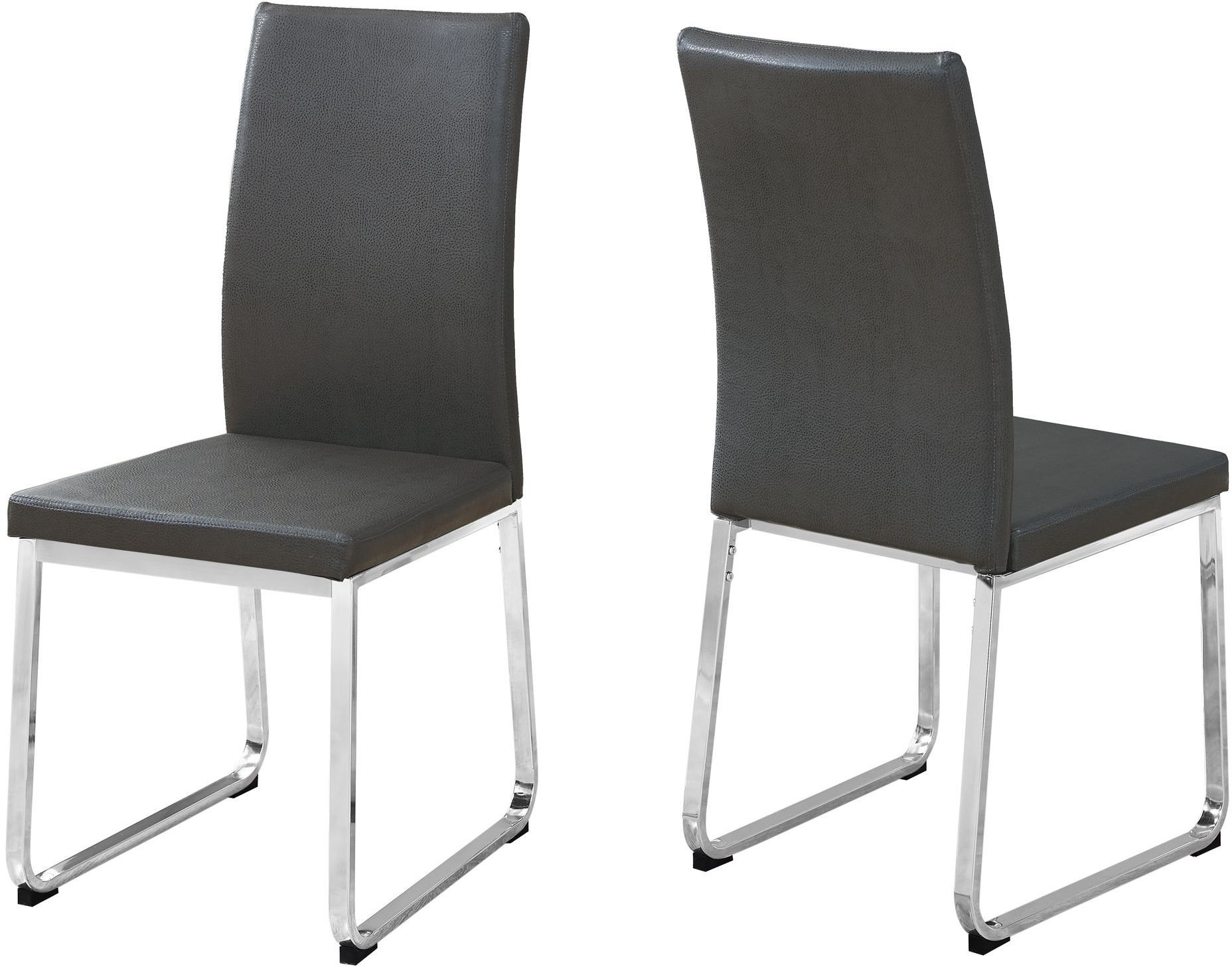 gray leather and chrome dining chair set of 2 from monarch coleman furniture. Black Bedroom Furniture Sets. Home Design Ideas