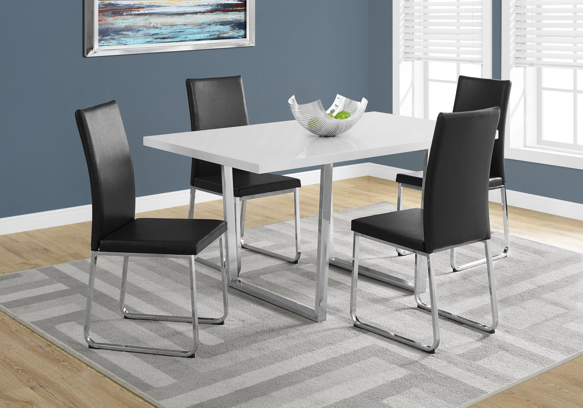 Glossy White And Chrome 60 Quot Dining Room Set With 38