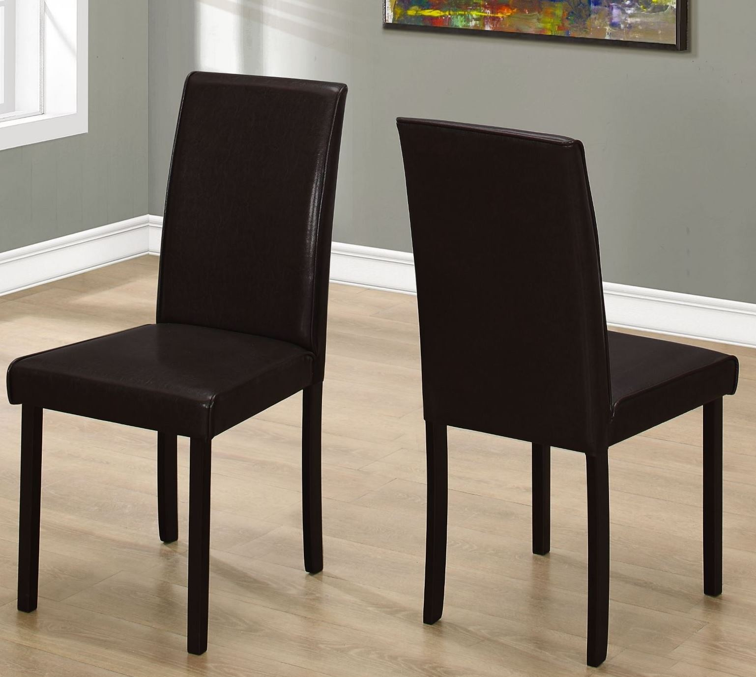 "Leahlyn Reddish Brown Arm Chair Set Of 2: Dark Brown Leather 36"" Dining Chair Set Of 2 From Monarch"