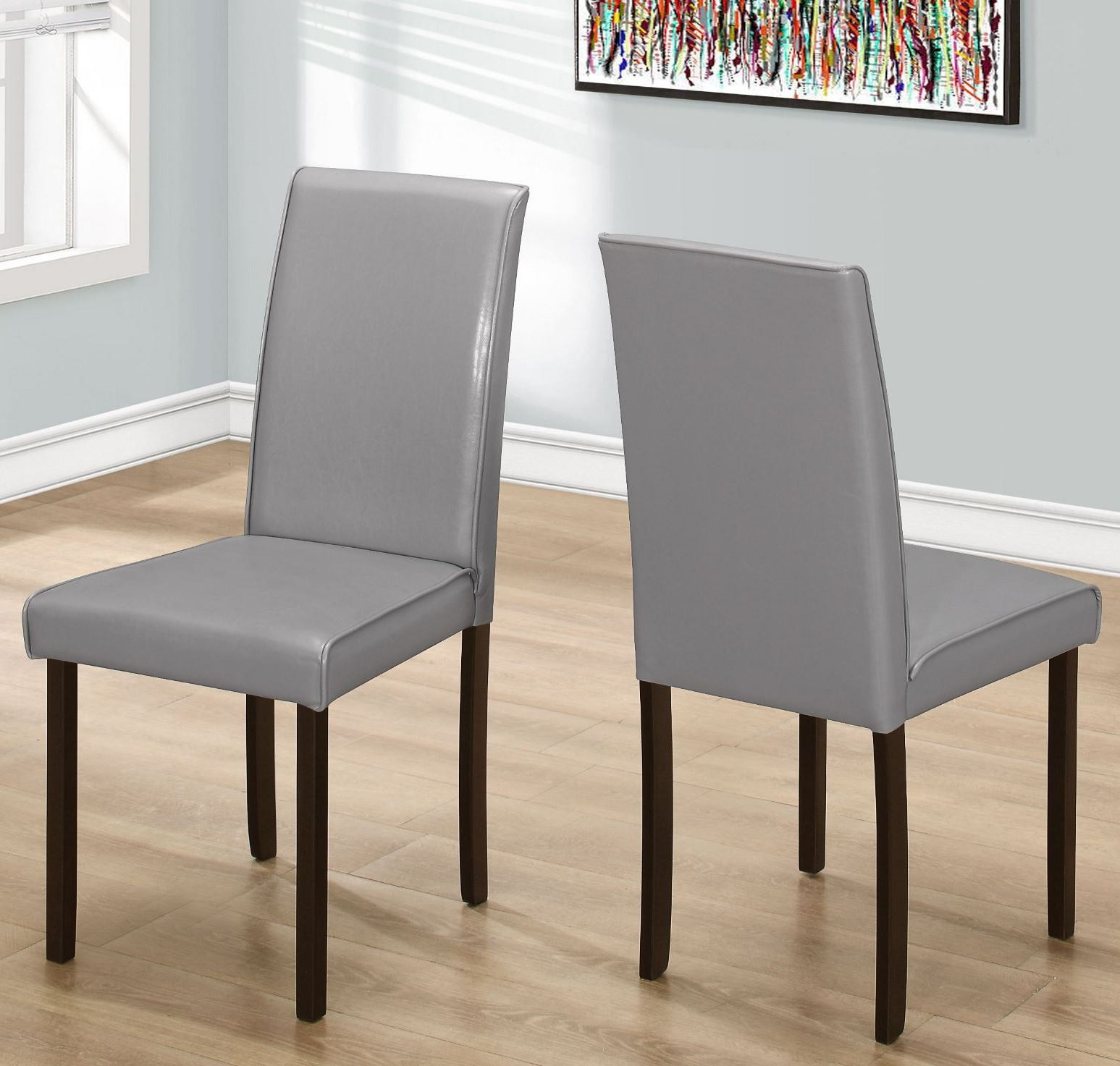 gray leather 36 dining chair set of 2 from monarch coleman furniture. Black Bedroom Furniture Sets. Home Design Ideas