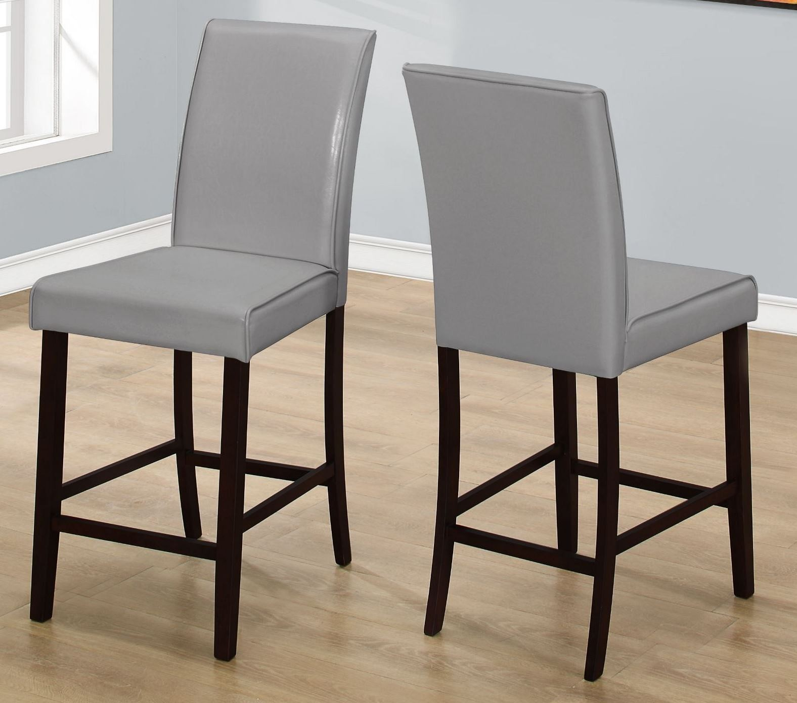 gray leather counter height dining chair set of 2 from monarch coleman furniture. Black Bedroom Furniture Sets. Home Design Ideas