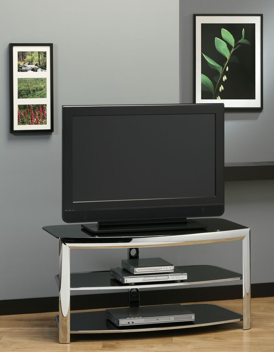 Black Tempered Glass TV Stand, 2038, Monarch