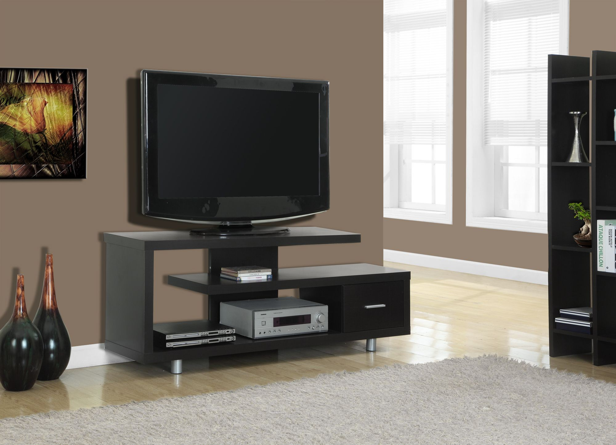 2572 cappuccino hollow core tv console from monarch 2572 coleman furniture. Black Bedroom Furniture Sets. Home Design Ideas